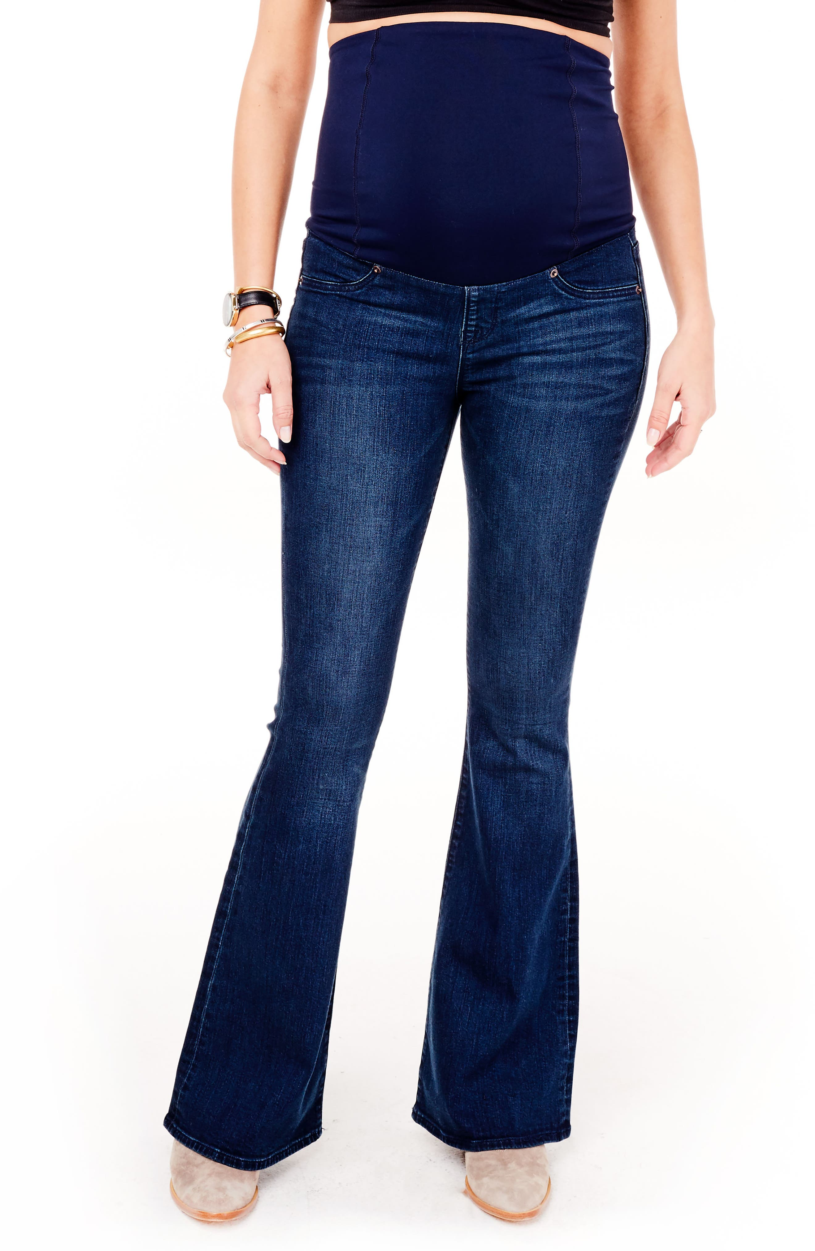 Main Image - Ingrid & Isabel® Gracie Flare Maternity Jeans (True Blue)