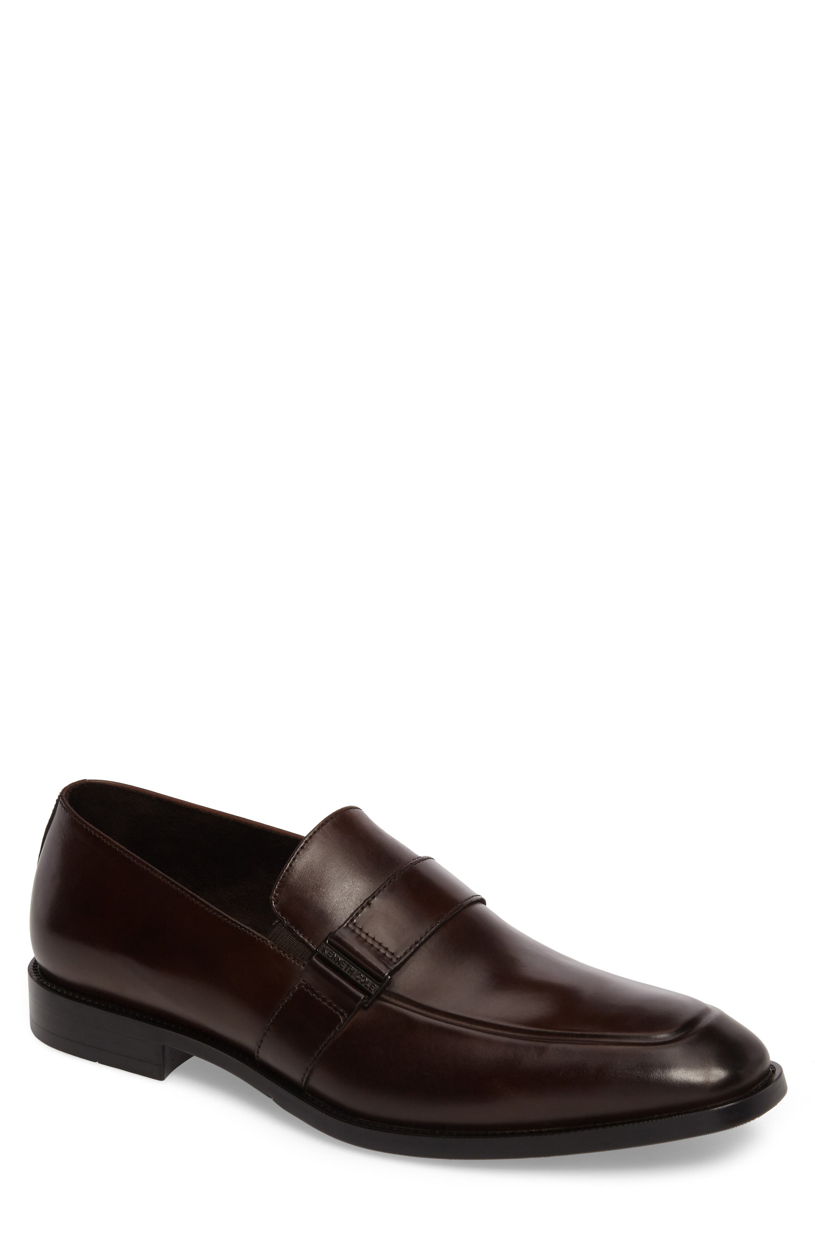Apron Toe Loafer,                             Main thumbnail 1, color,                             Brown Leather