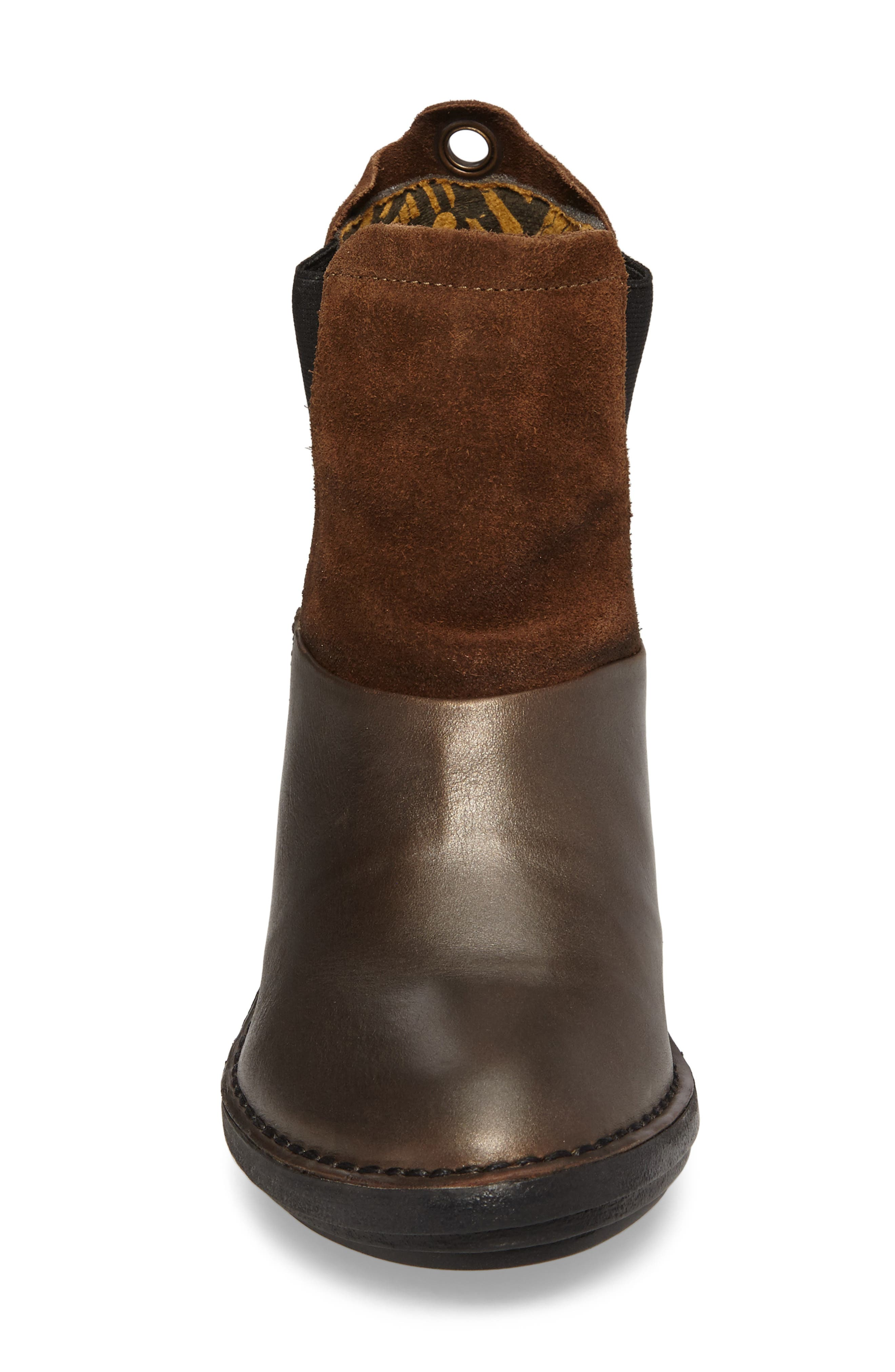 Sula Wedge Bootie,                             Alternate thumbnail 4, color,                             Olive/ Camel Suede