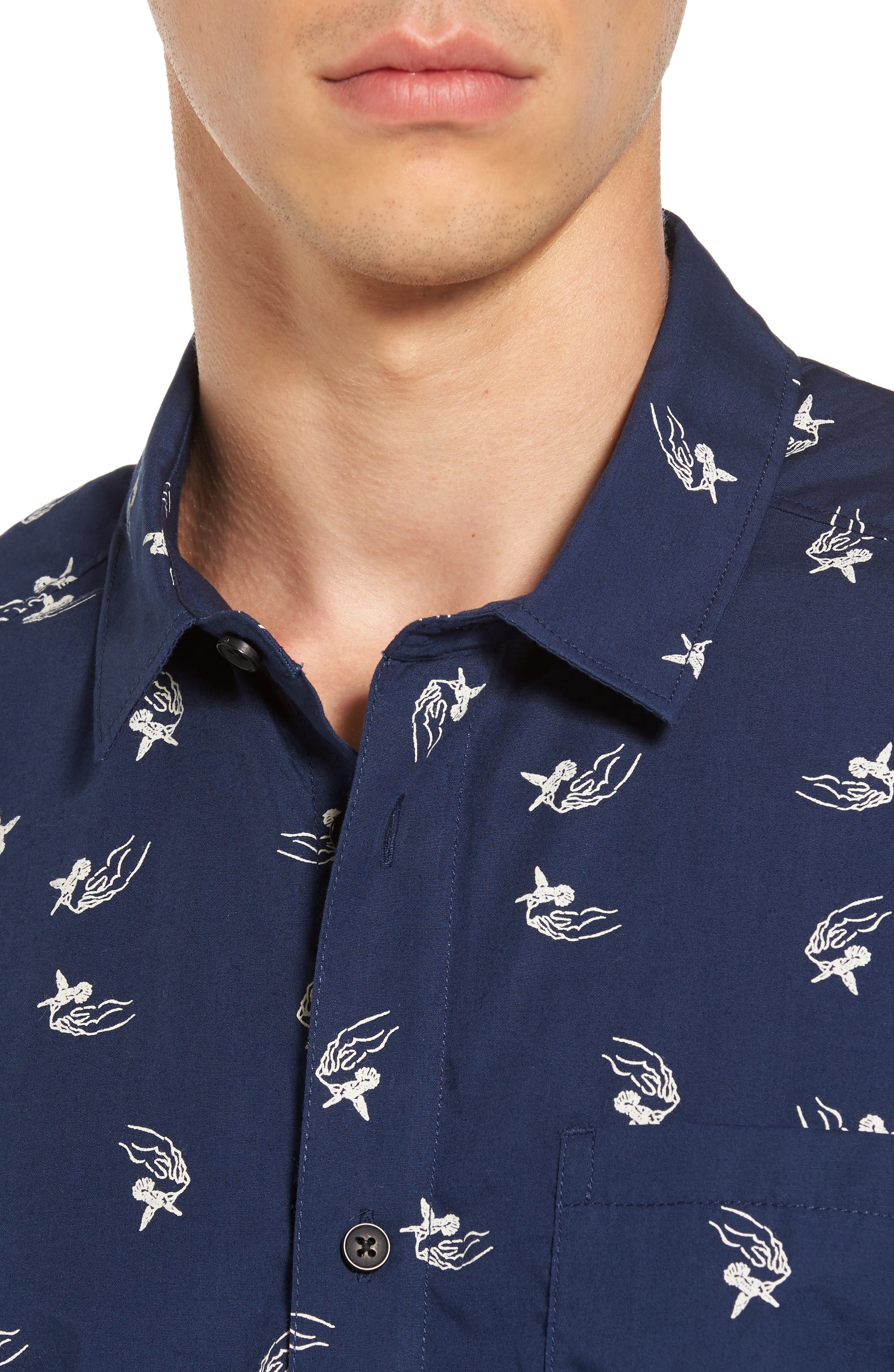 Alternate Image 4  - RVCA x Kevin Long Hummingbird Woven Shirt