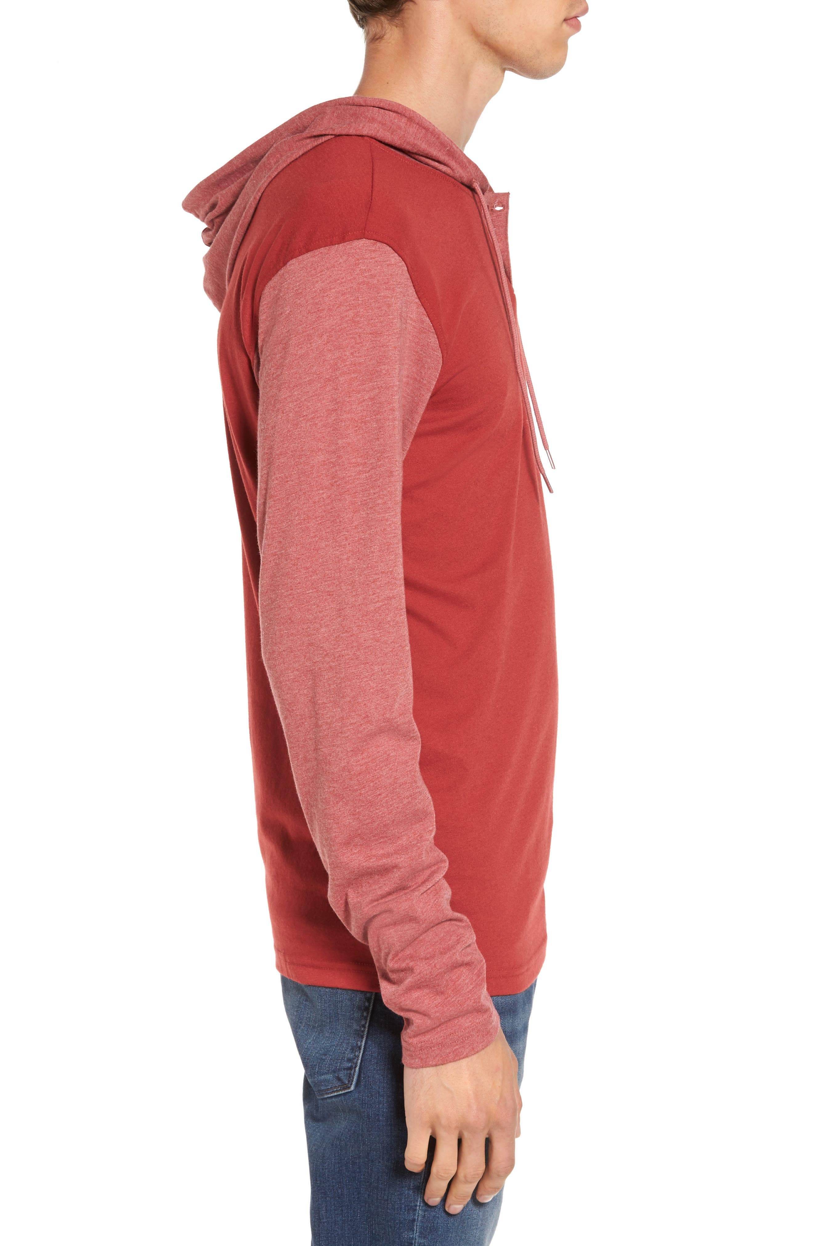 Pick Up Hooded Henley Sweatshirt,                             Alternate thumbnail 3, color,                             Rosewood