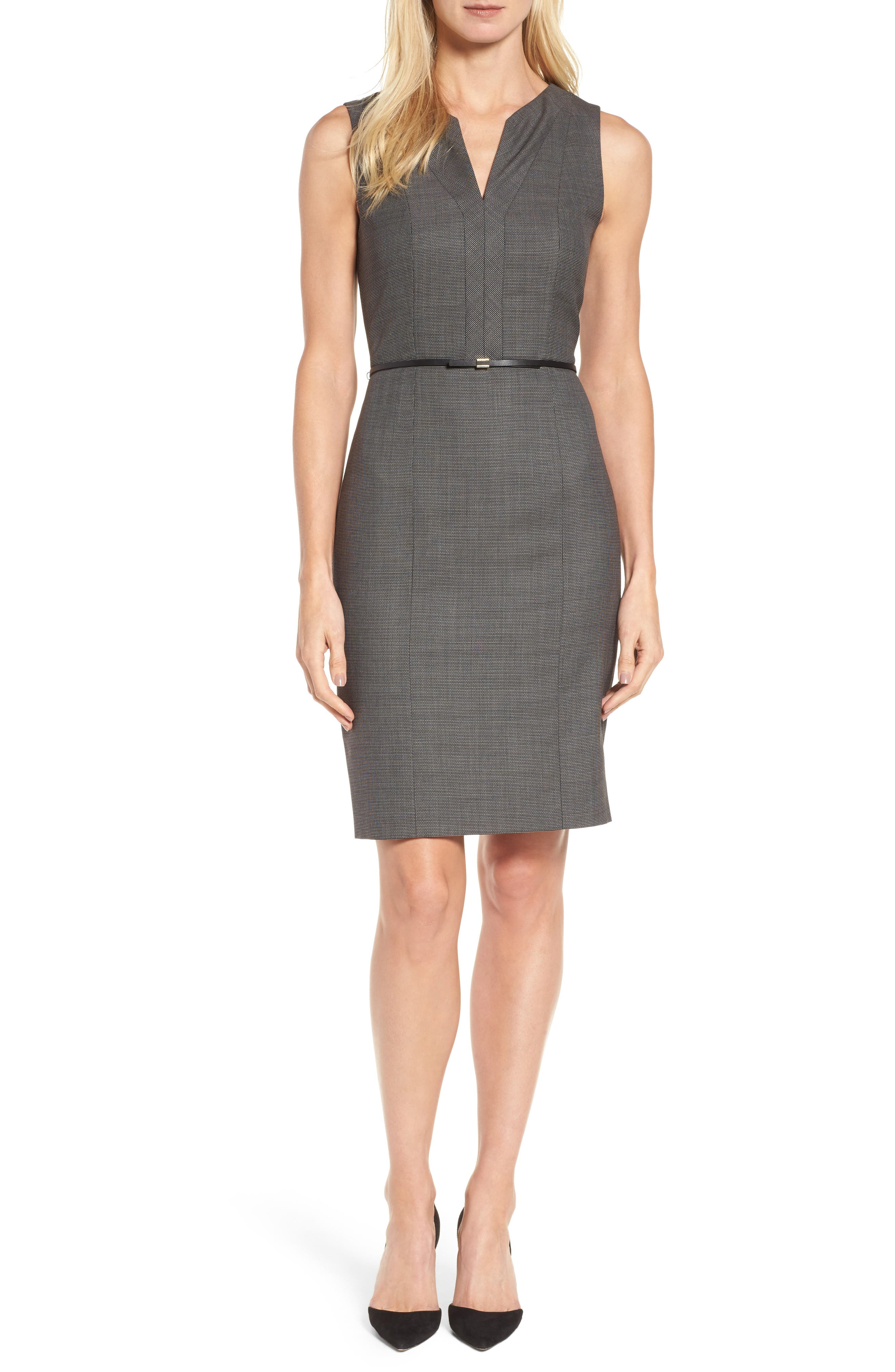 BOSS Dalanda Belted Sheath Dress