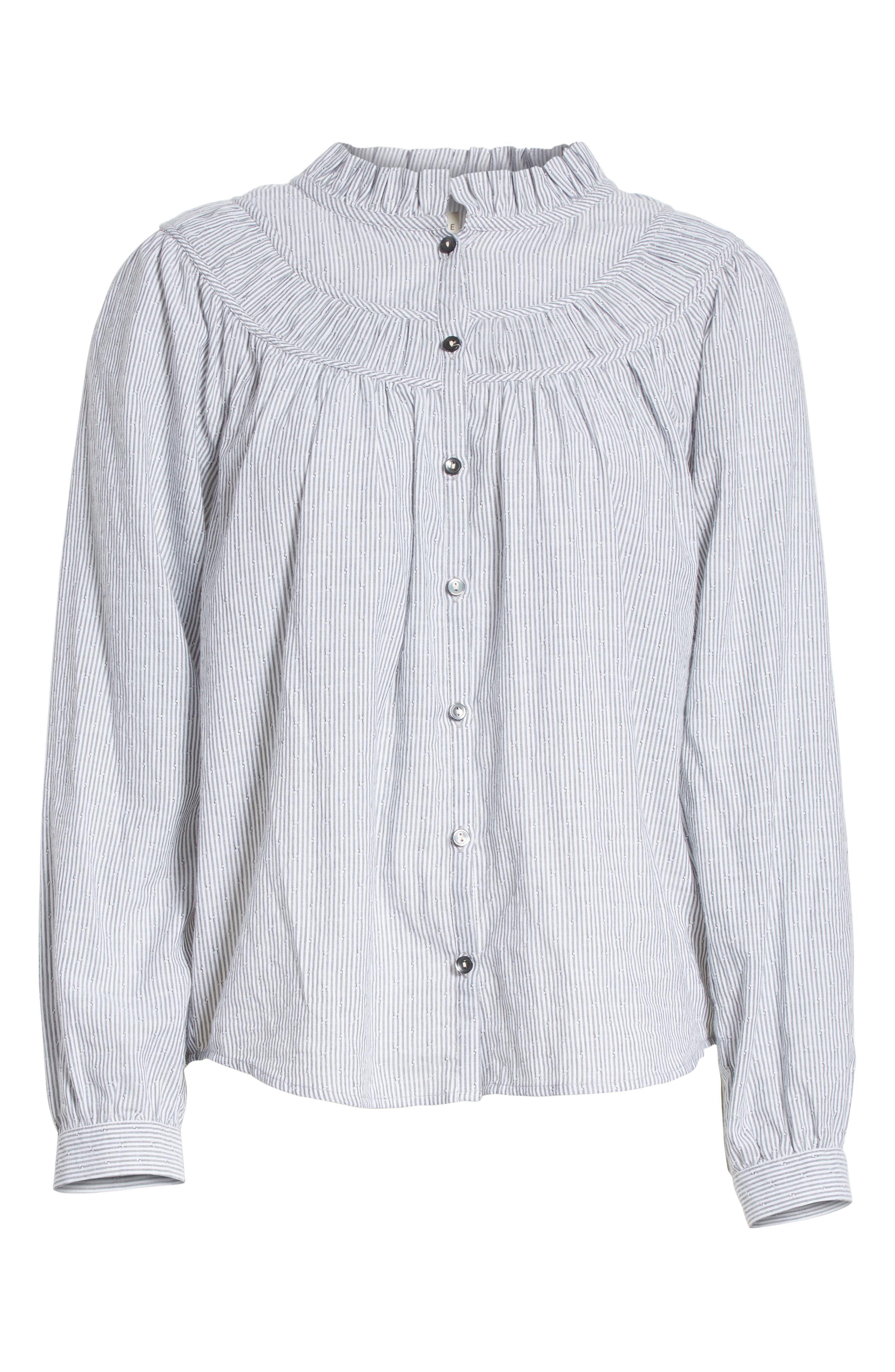 Stripe Long Sleeve Ruffle Shirt,                             Alternate thumbnail 6, color,                             Washed Black Combo