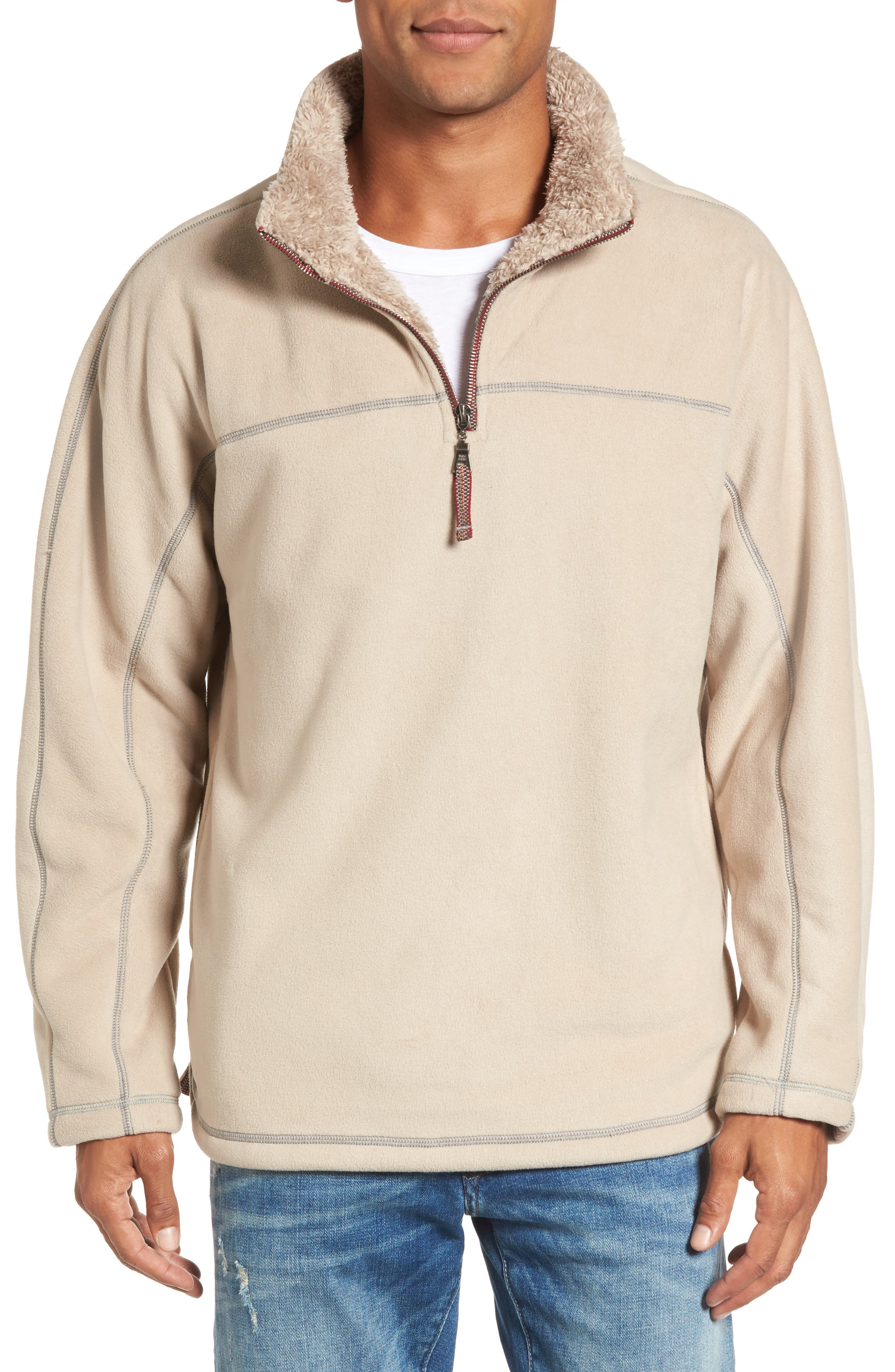 Bonded Polar Fleece Lined Pullover,                             Main thumbnail 1, color,                             Sand