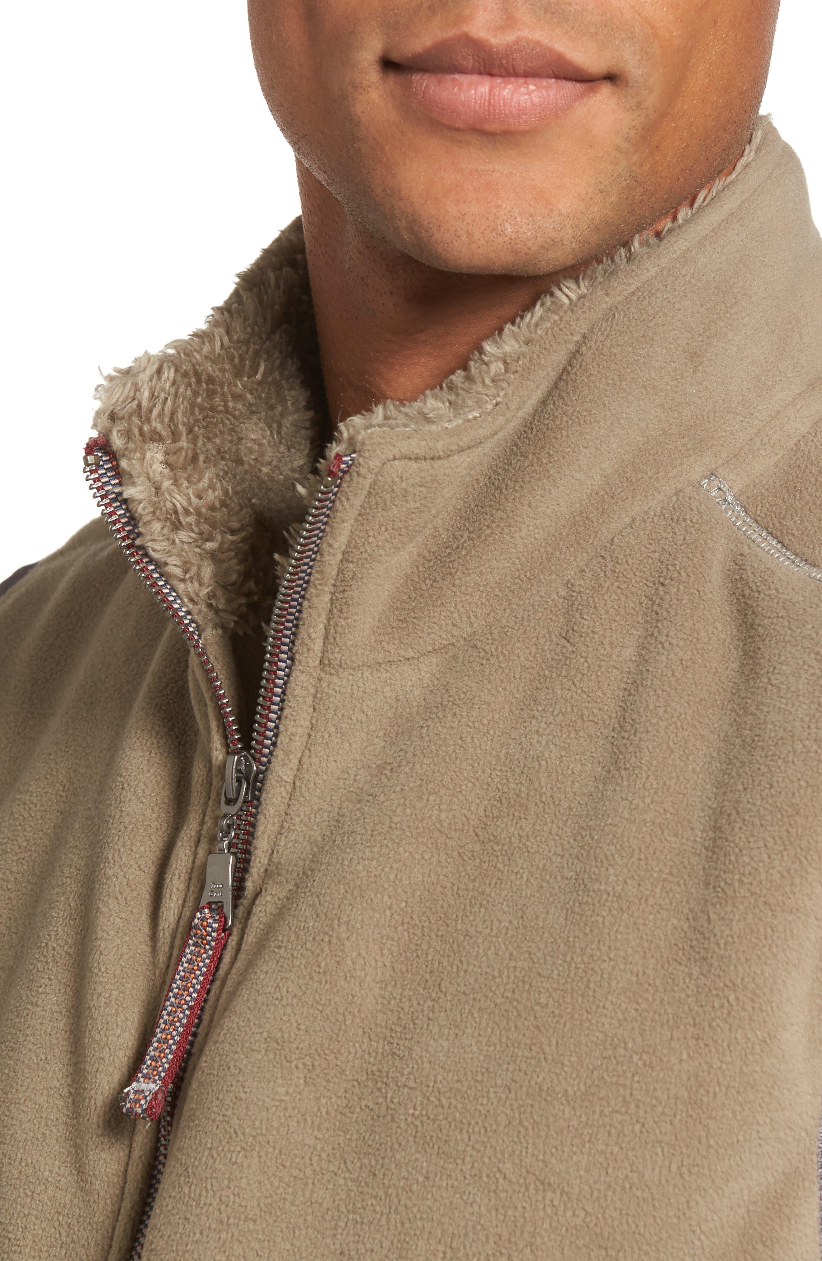 Fleece Vest with Faux Fur Lining,                             Alternate thumbnail 4, color,                             Gravel