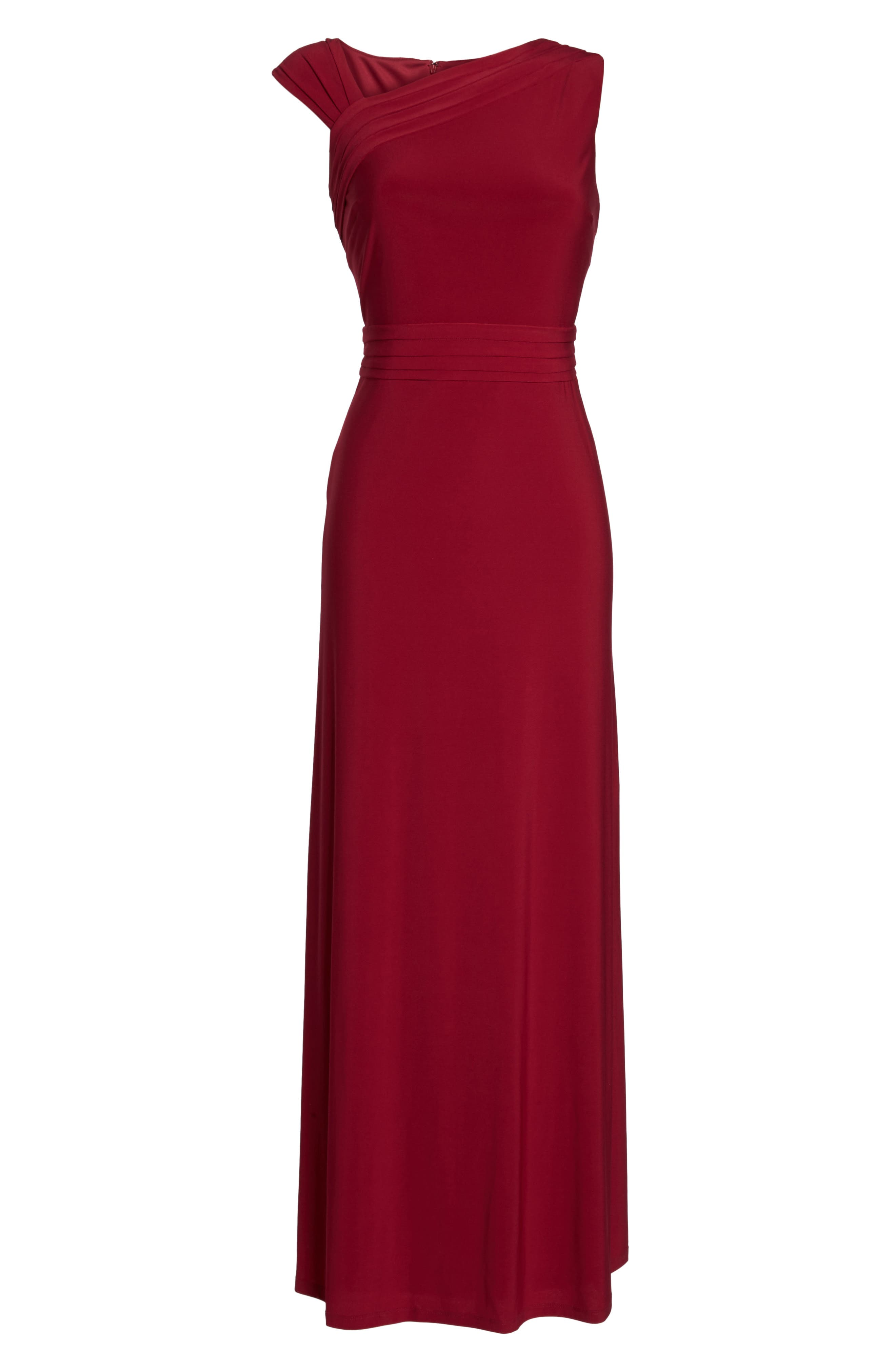 Asymmetrical Neck Jersey Gown,                             Alternate thumbnail 6, color,                             Garnet