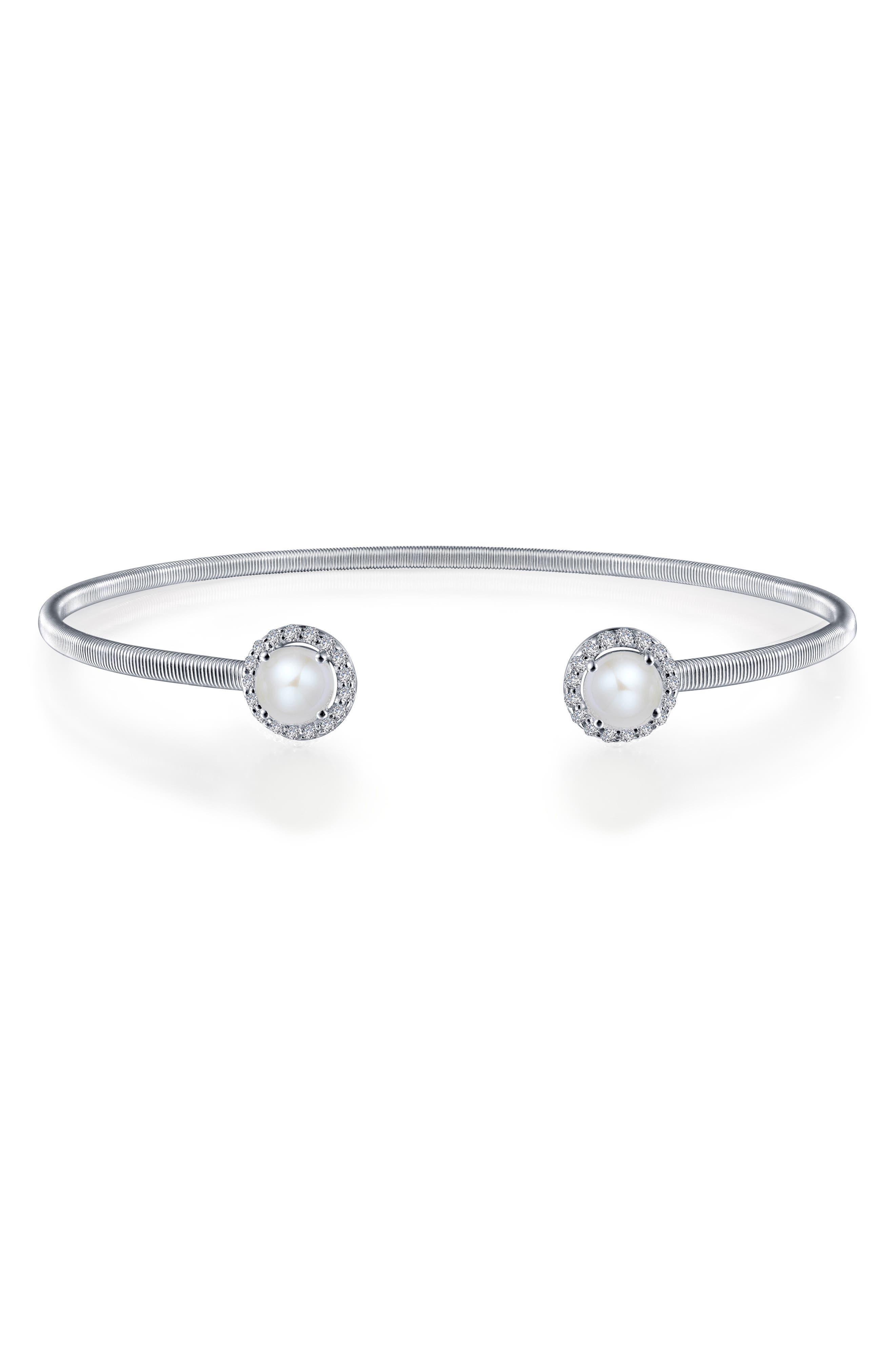 Lassaire Simulated Diamond Cuff,                         Main,                         color, Silver/ June Pearl
