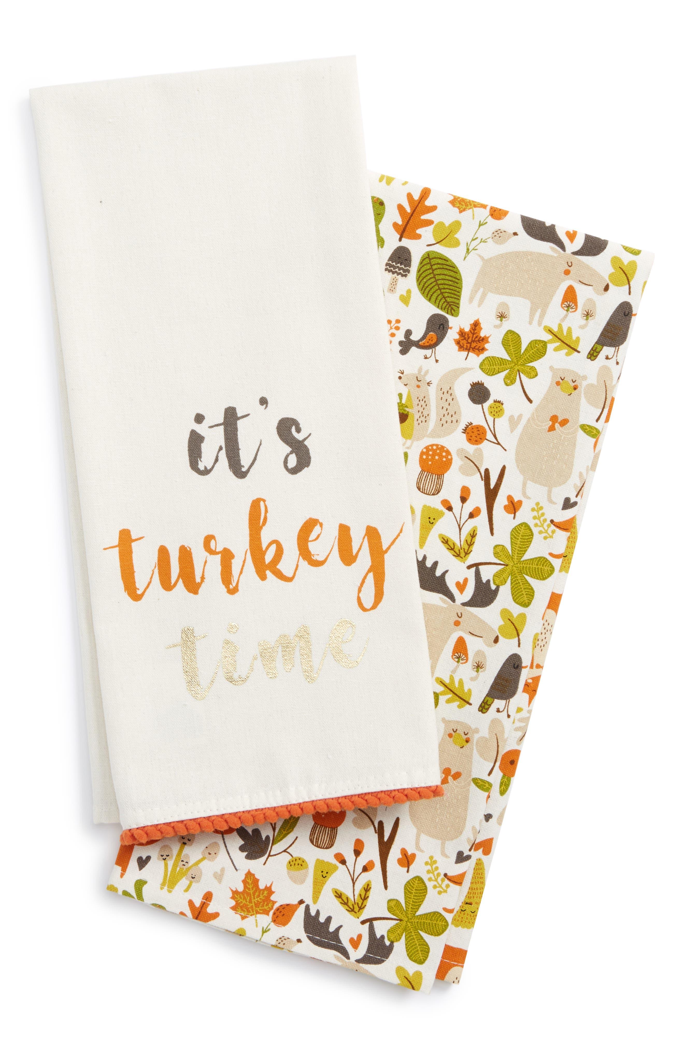 Turkey Time Set of 2 Dish Towels,                         Main,                         color, Beige