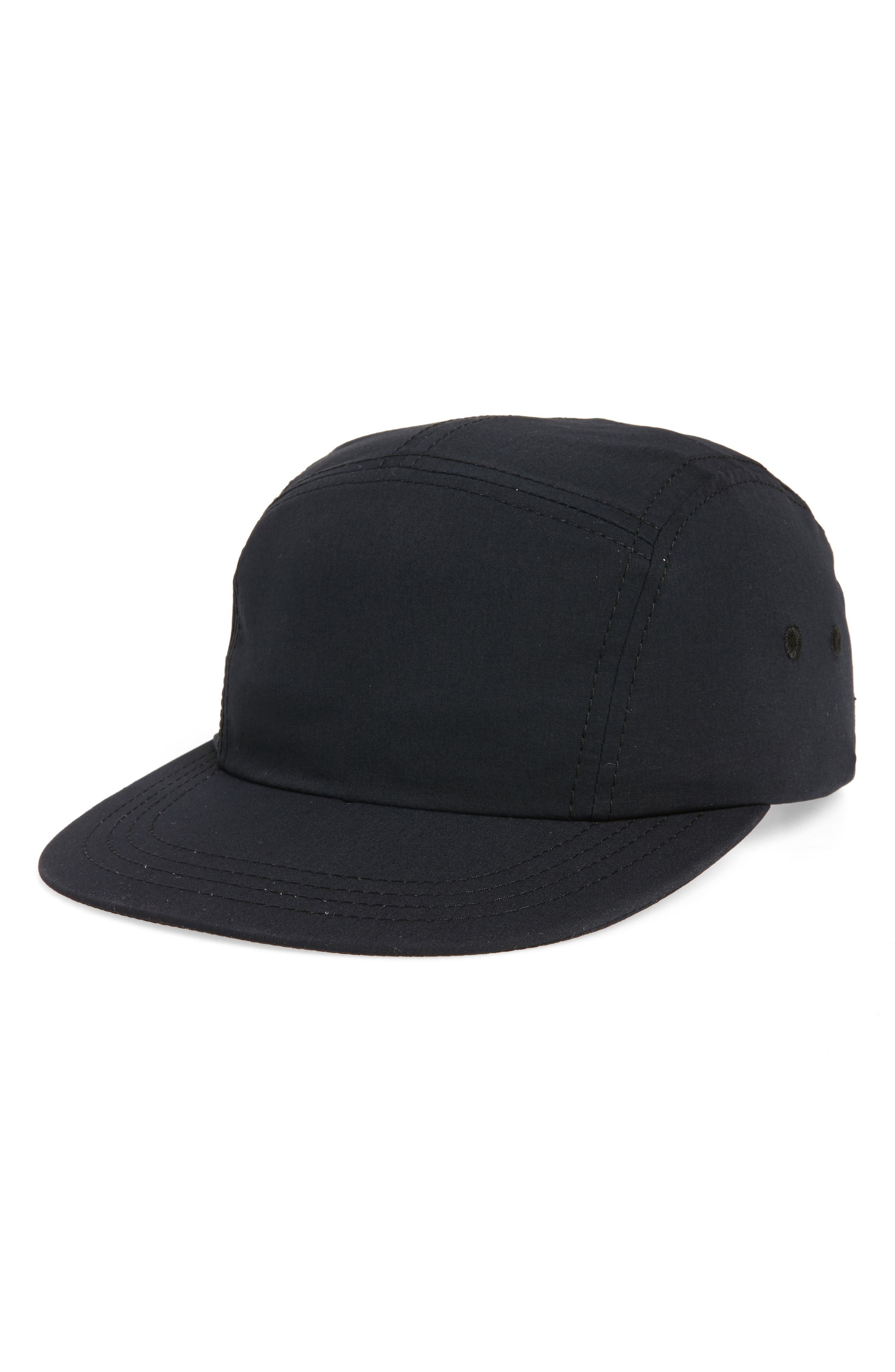 Five Panel Nylon Camp Hat,                             Main thumbnail 1, color,                             Black