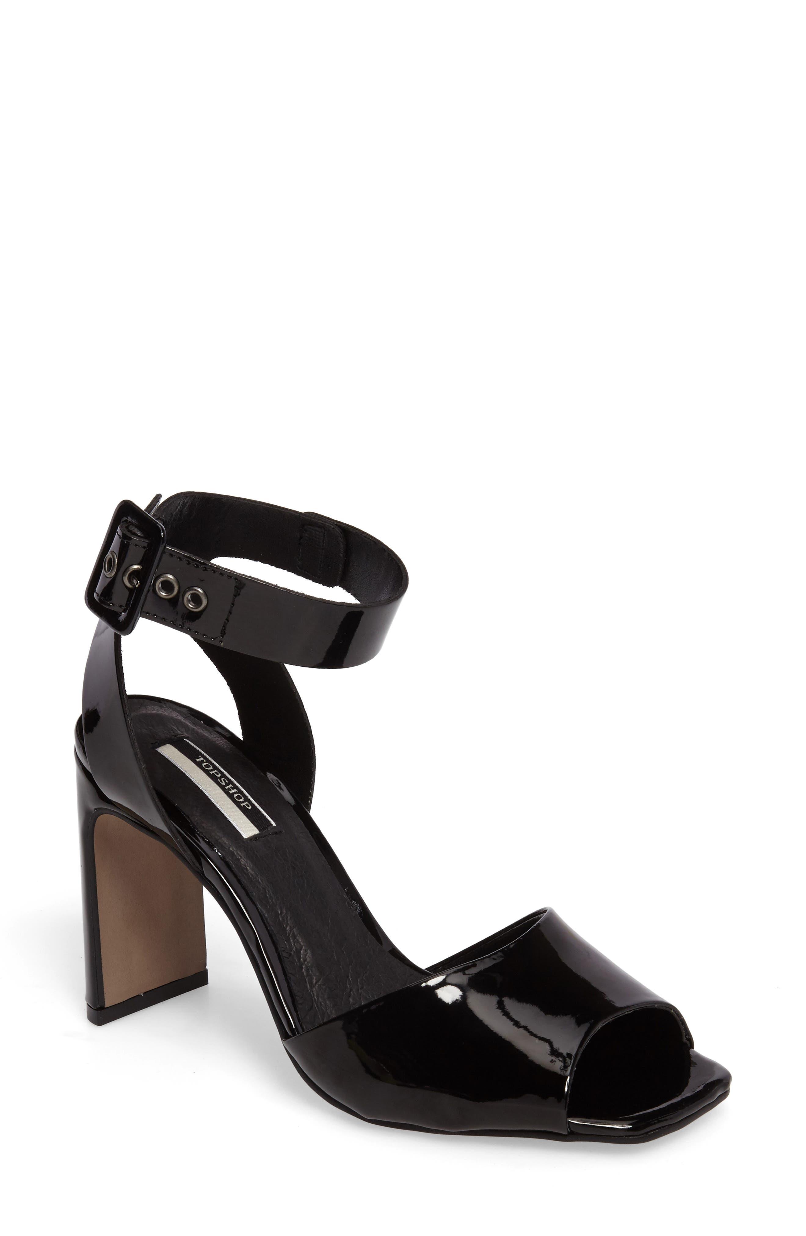 Roux Square Toe Sandal,                             Main thumbnail 1, color,                             Black