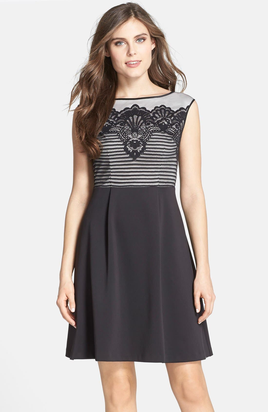 Main Image - Adrianna Papell Lace Overlay Fit & Flare Dress