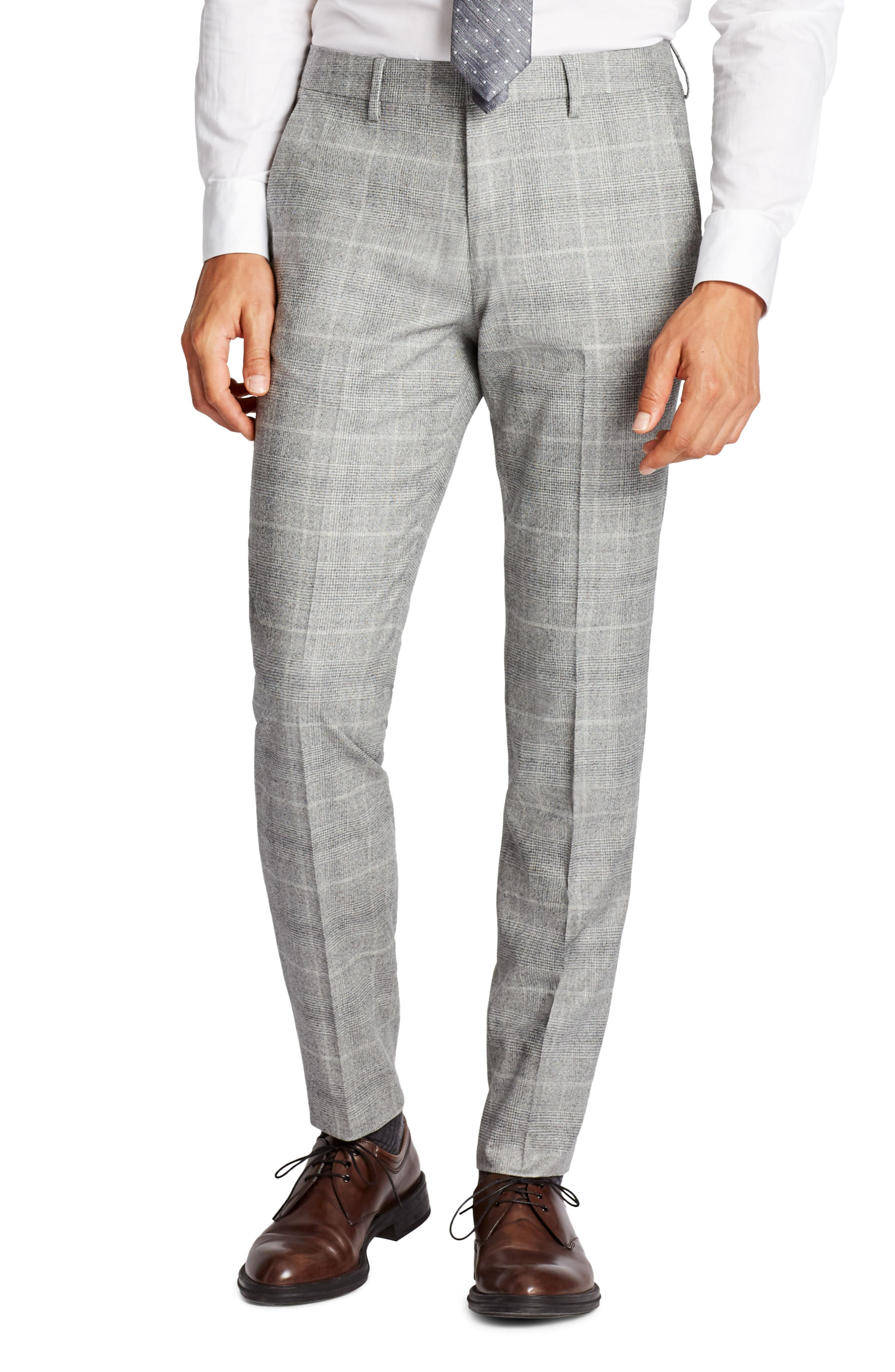 Jetsetter Flat Front Plaid Stretch Wool Trousers,                         Main,                         color, Light Grey Flannel