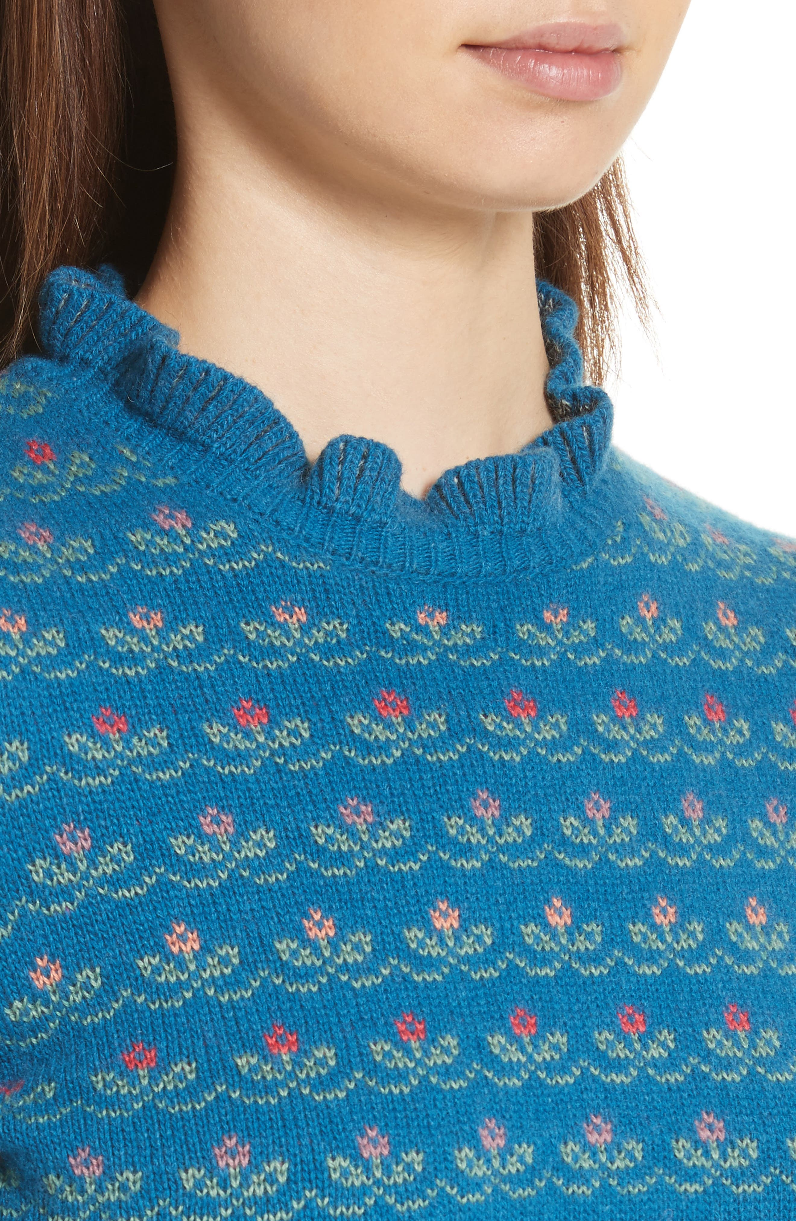 Floral Jacquard Carded Wool Blend Sweater,                             Alternate thumbnail 4, color,                             Lapislazzuli