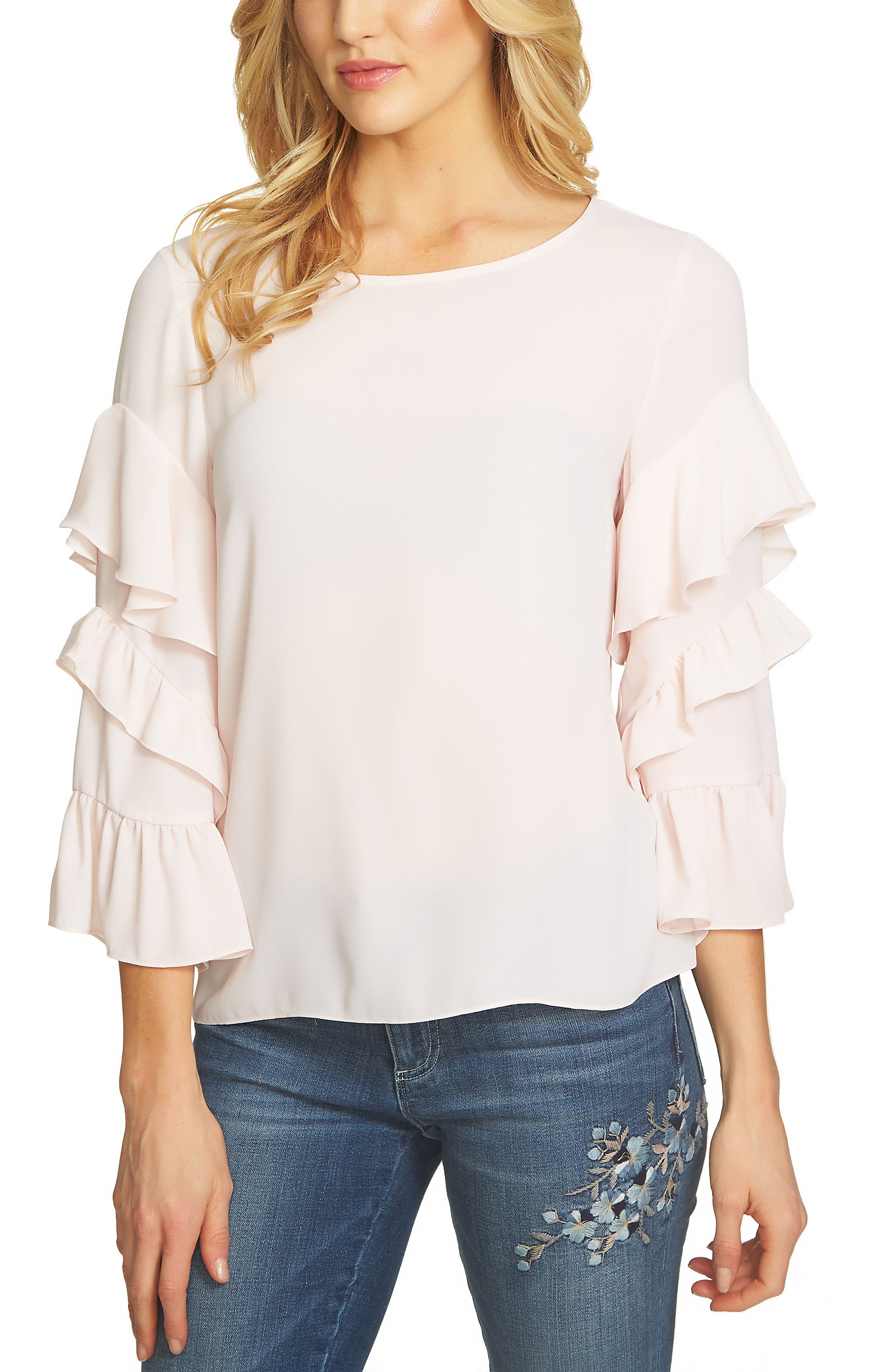 Tiered Ruffle Sleeve Blouse,                         Main,                         color, Pink