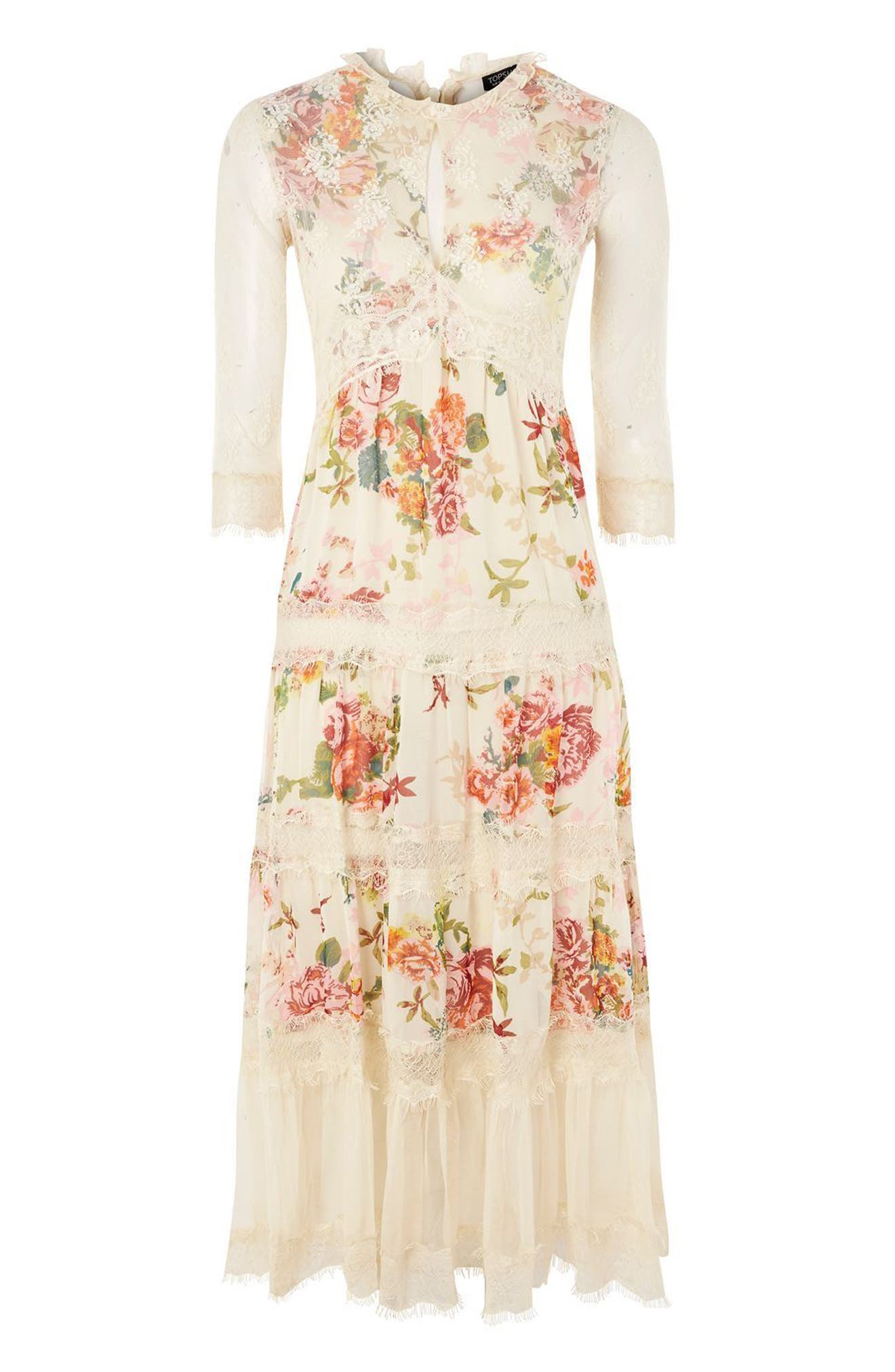 Lace Tier Floral Midi Dress,                             Alternate thumbnail 4, color,                             Ivory Multi