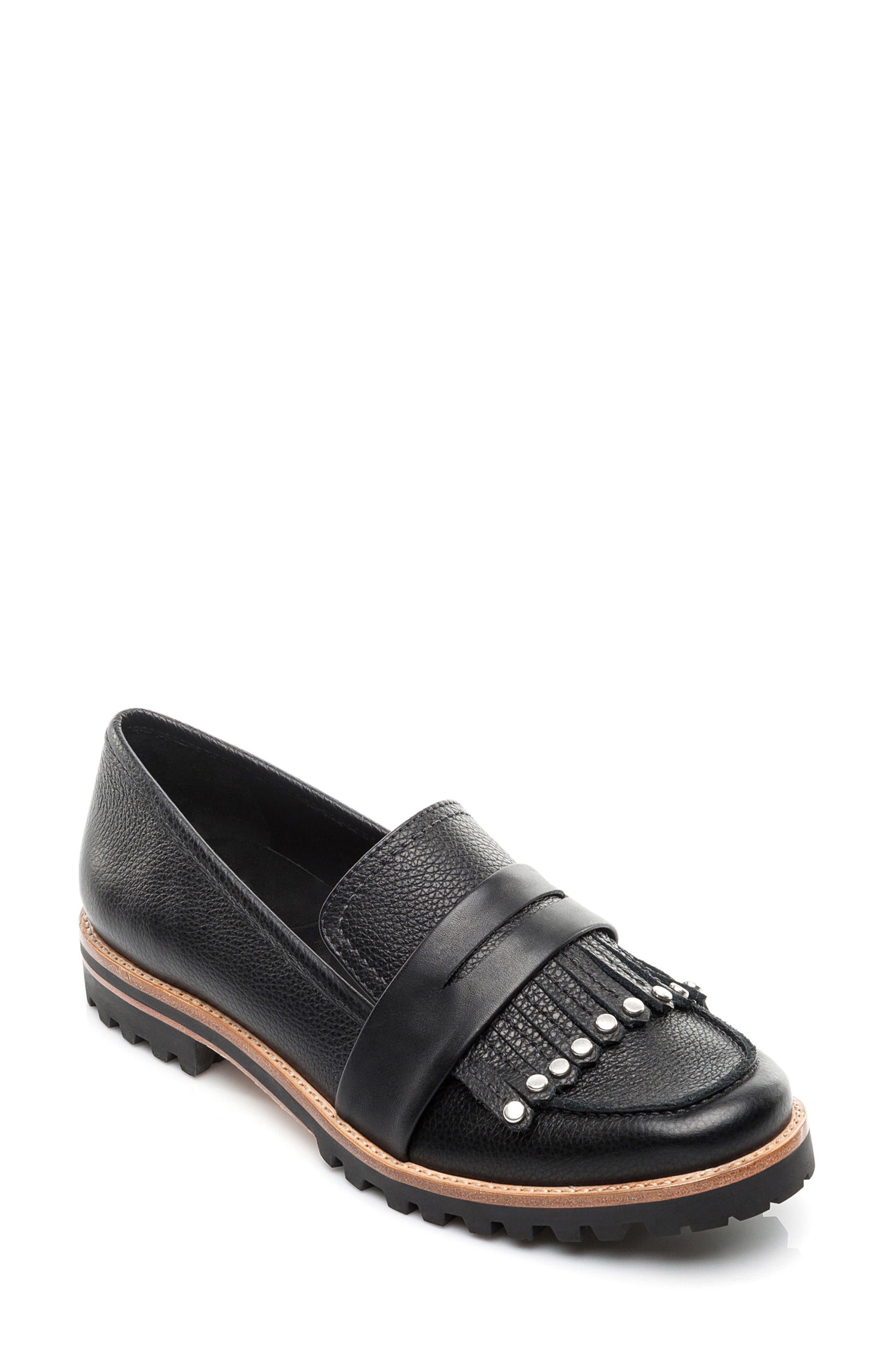 Olley Loafer,                         Main,                         color, Black Leather