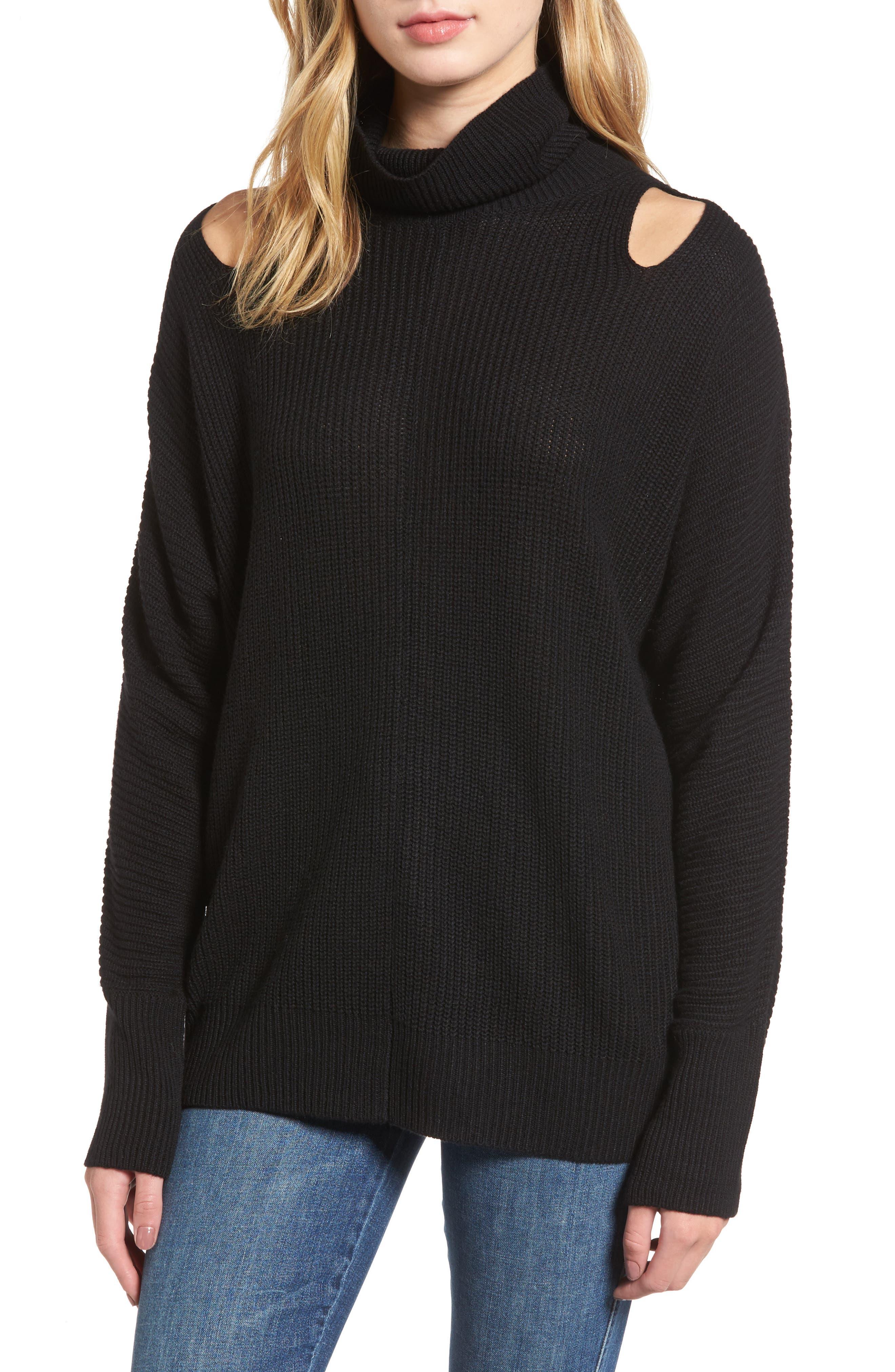 Cutout Sweater,                         Main,                         color, Black