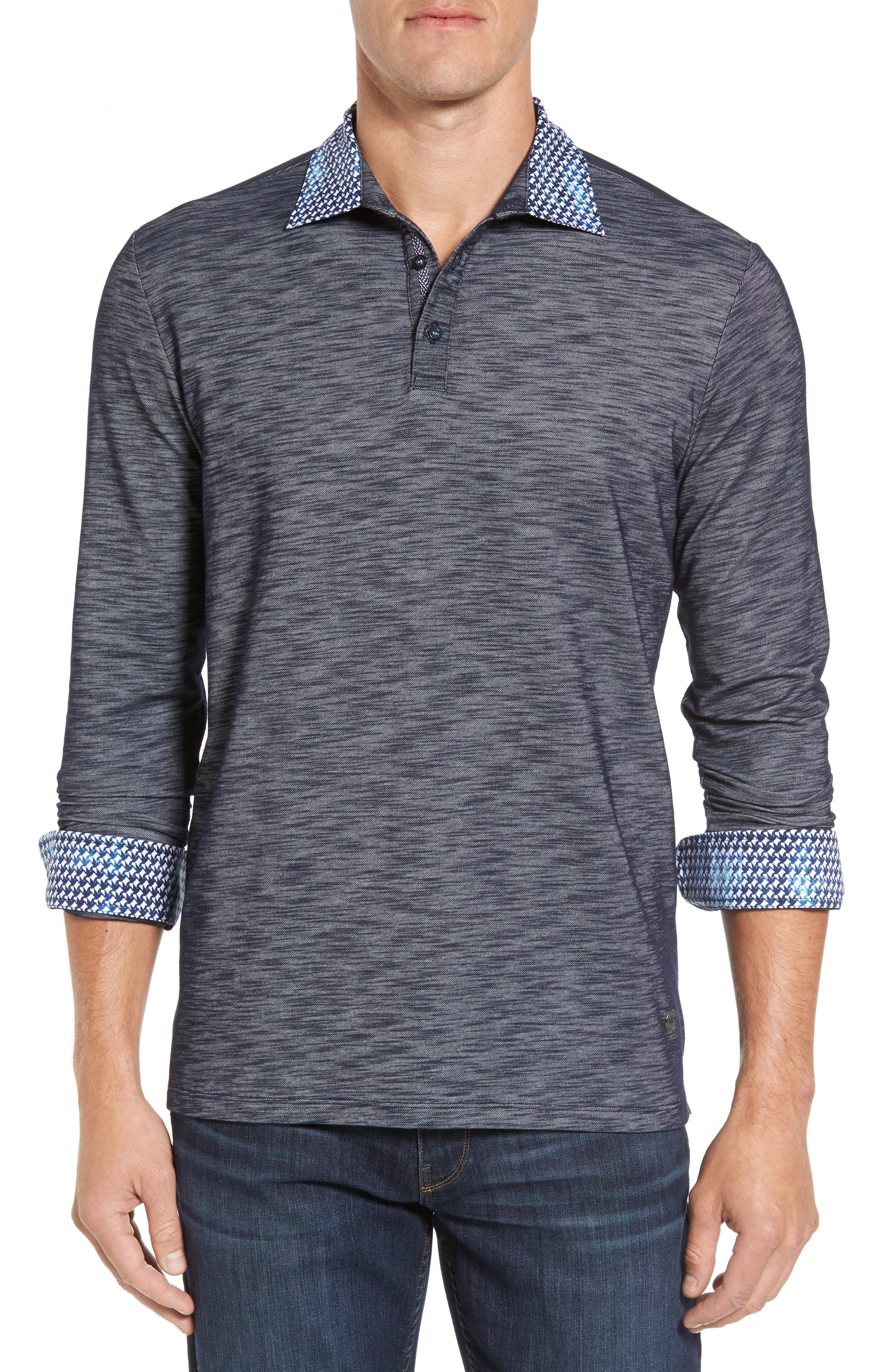 Stone Rose Flame Slim Fit Long Sleeve Polo