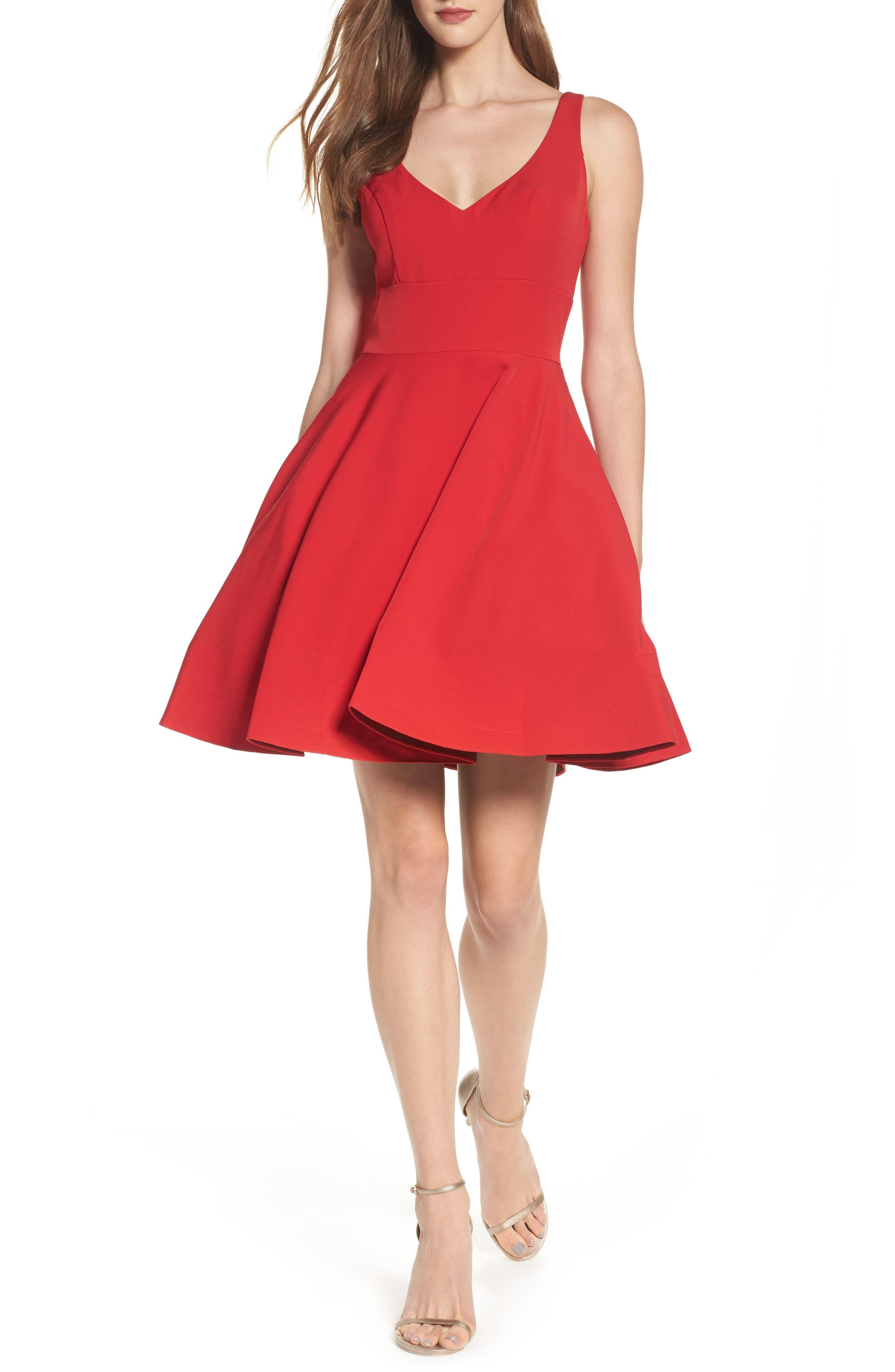 V-Neck Fit & Flare Dress,                         Main,                         color, Red