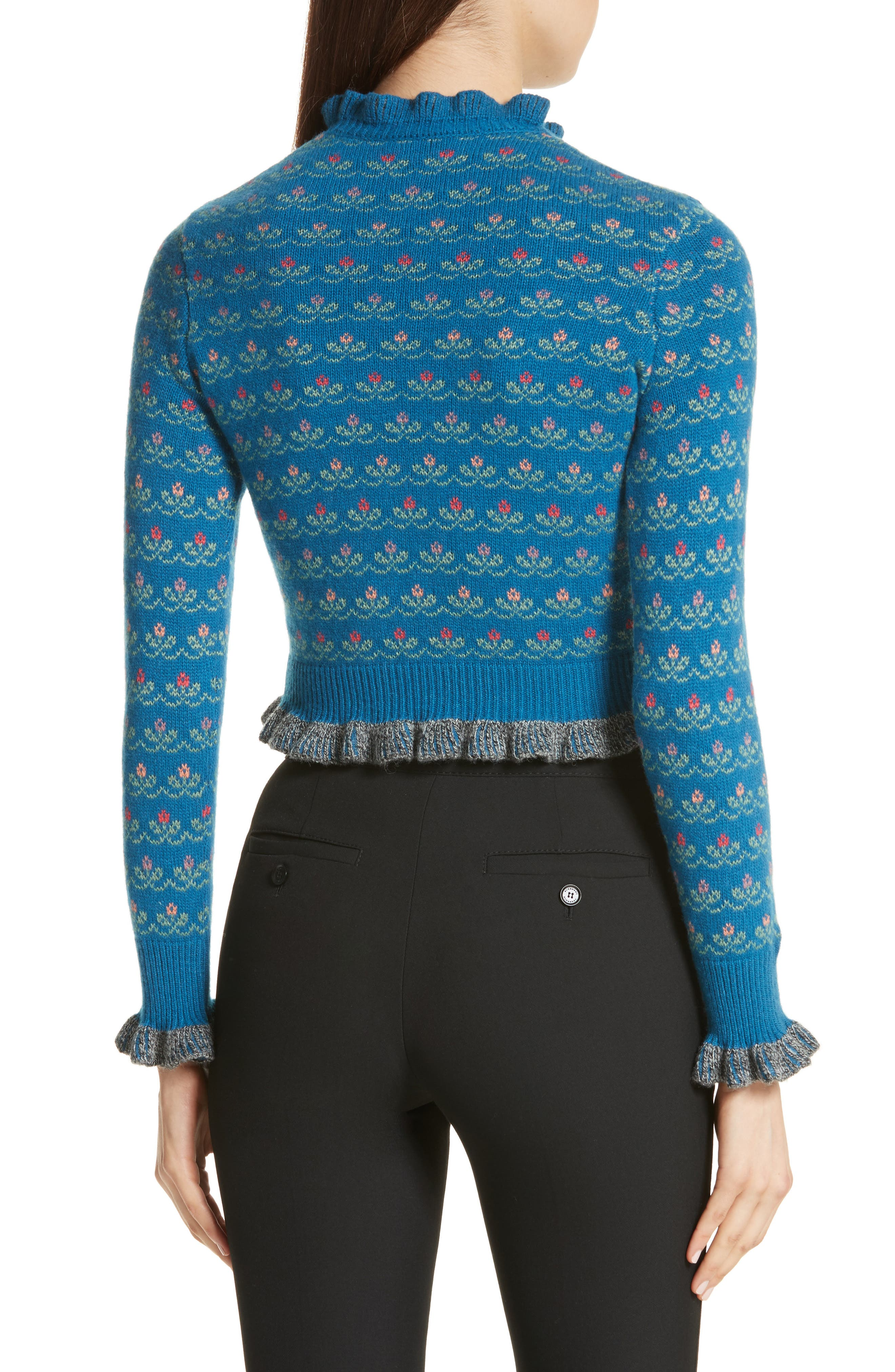 Floral Jacquard Carded Wool Blend Sweater,                             Alternate thumbnail 2, color,                             Lapislazzuli