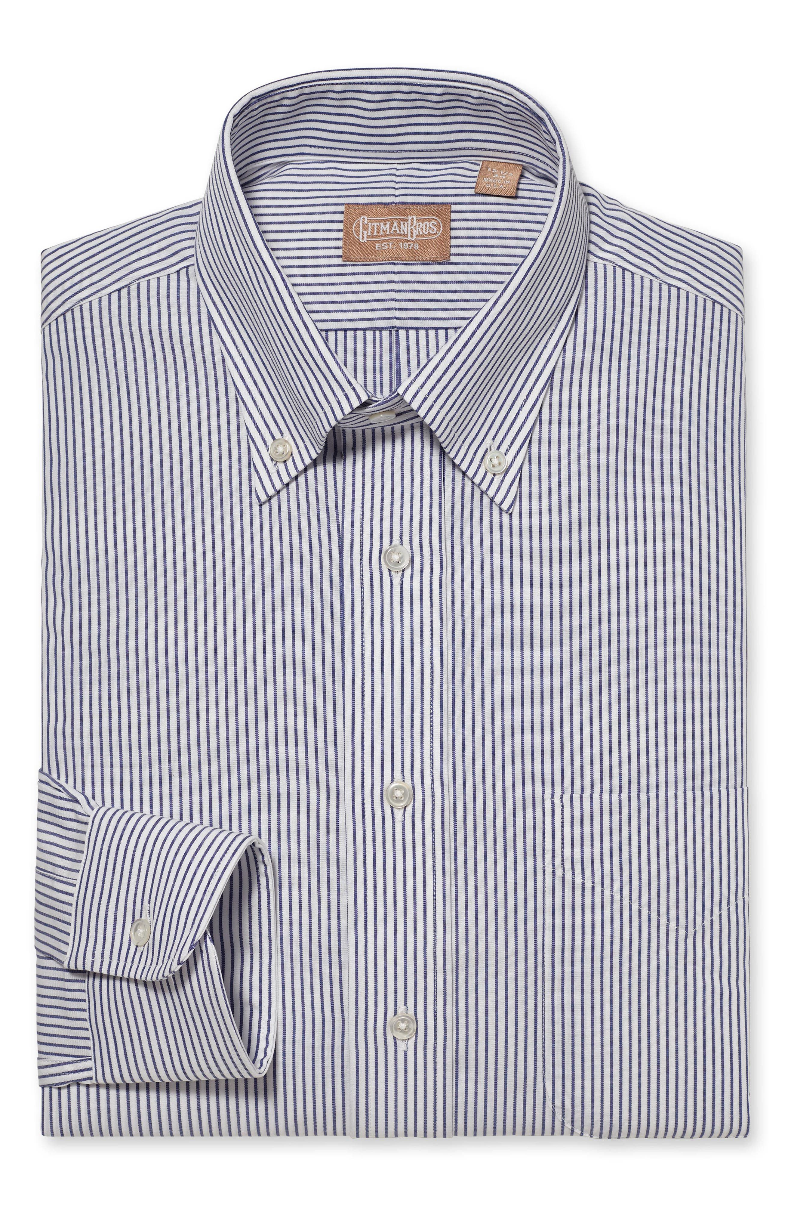 Regular Fit Stripe Dress Shirt,                         Main,                         color, Navy