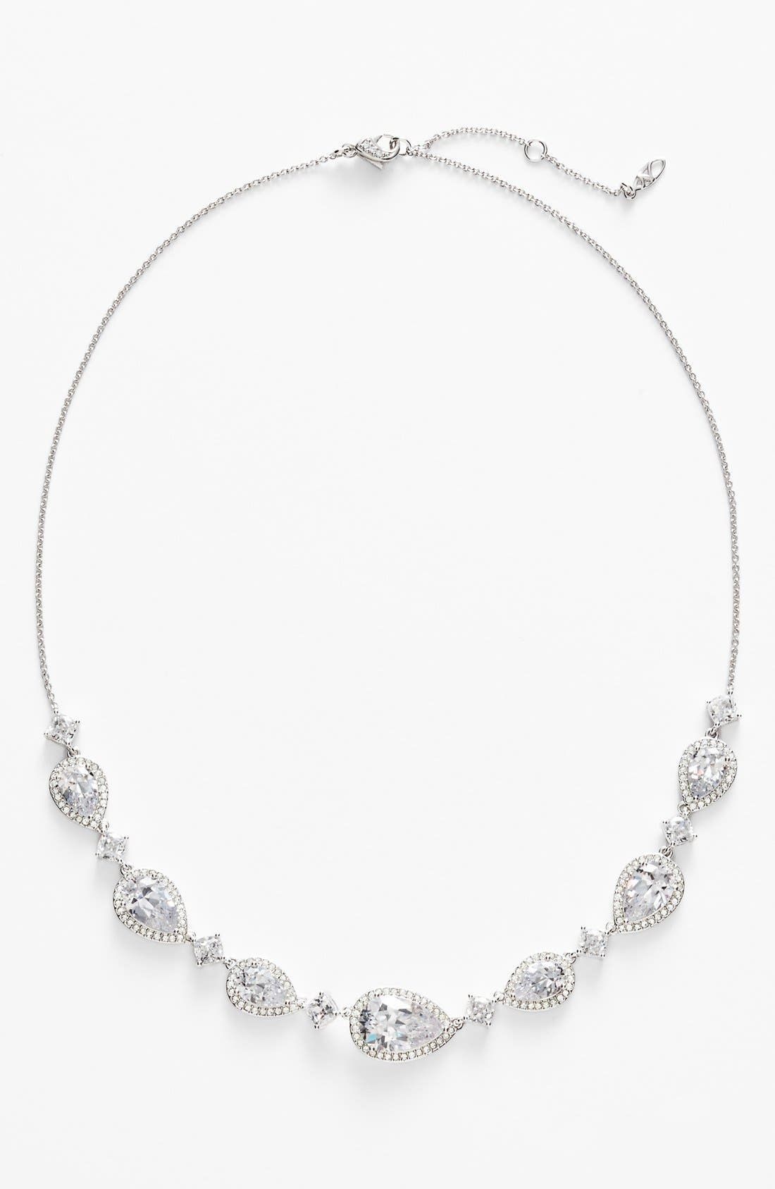 Cubic Zirconia Frontal Necklace,                             Main thumbnail 1, color,                             Silver