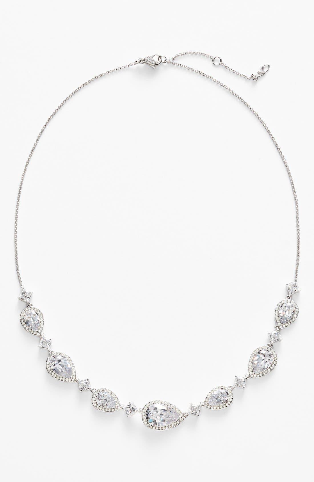 Cubic Zirconia Frontal Necklace,                         Main,                         color, Silver