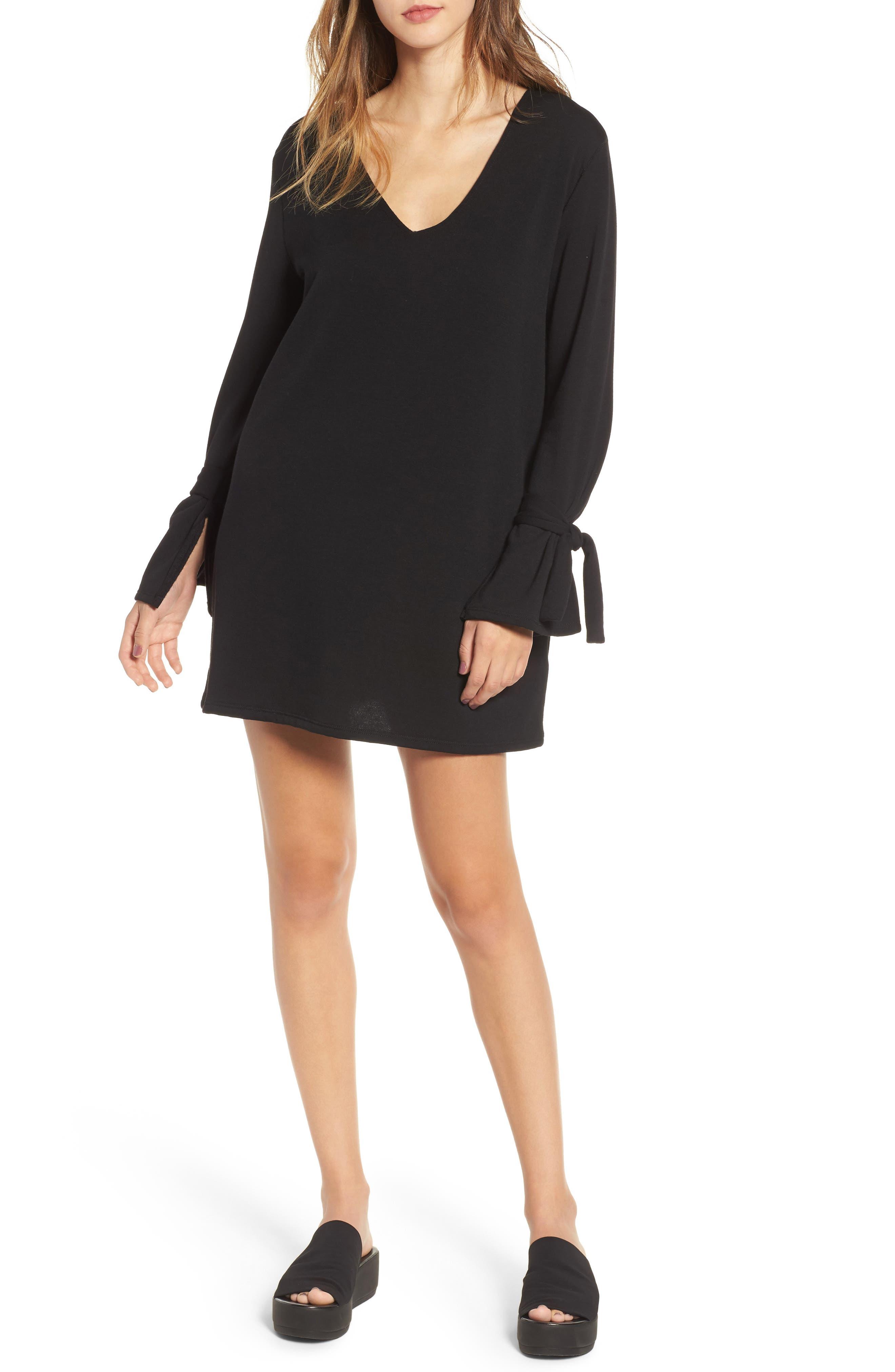 Tie Sleeve Shift Dress,                         Main,                         color, Black