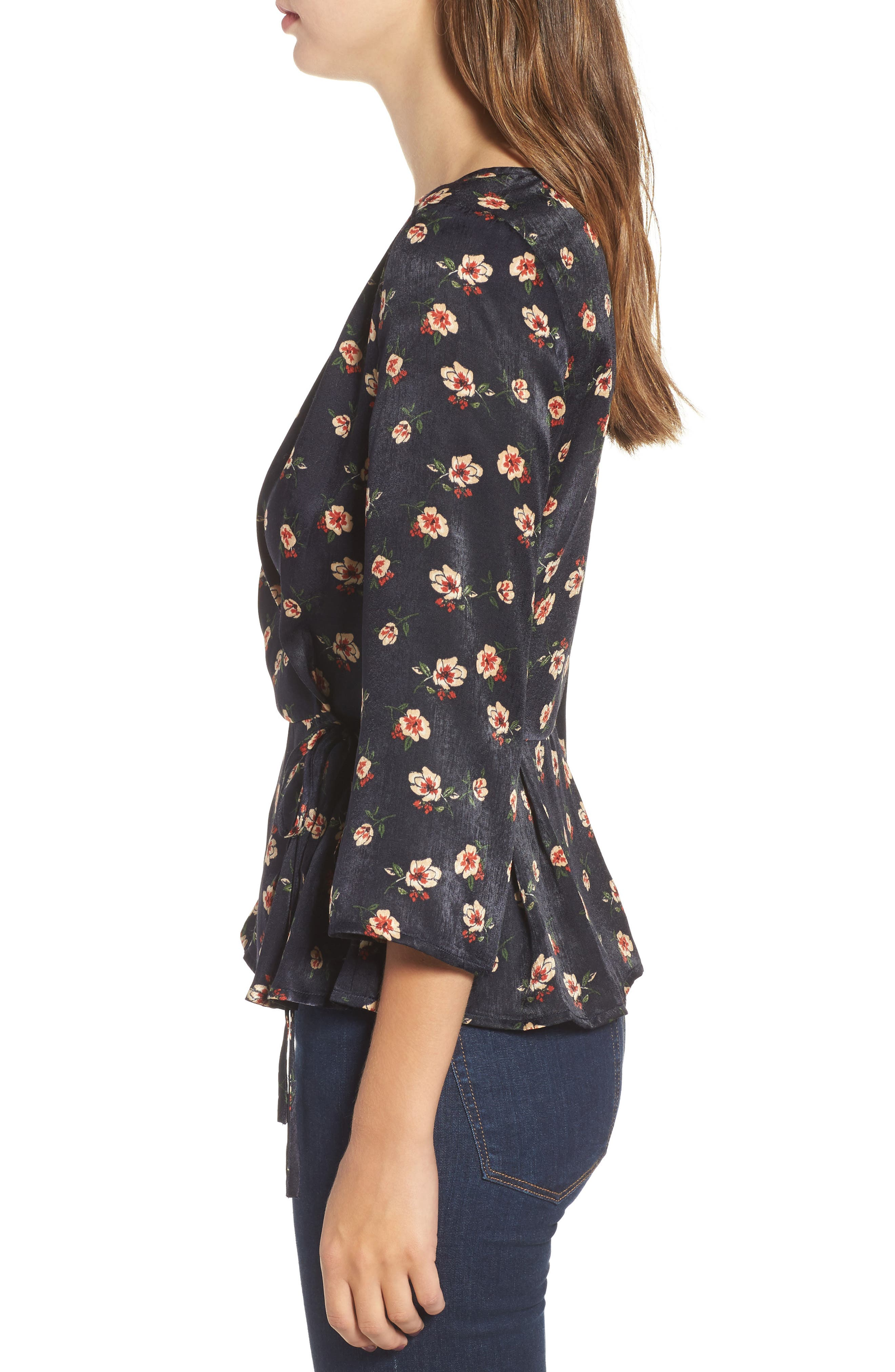 Alternate Image 3  - J.O.A. Floral Wrap Top