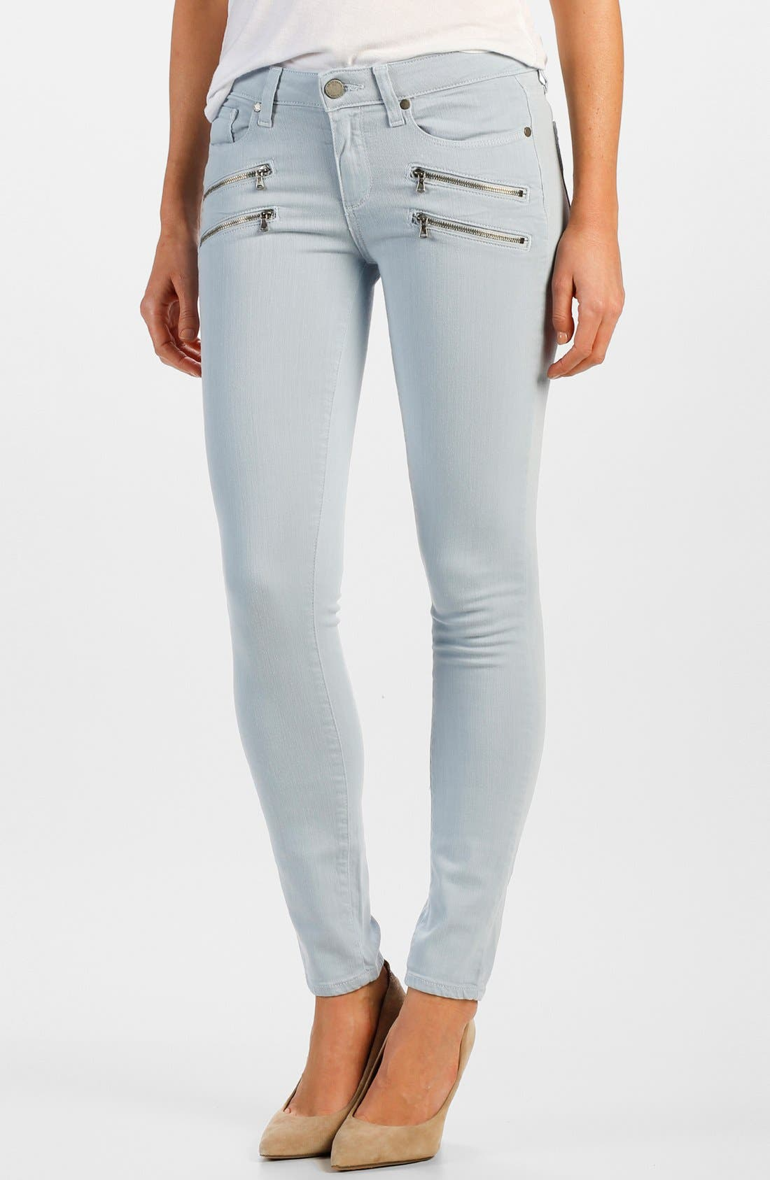 Alternate Image 1 Selected - Paige Denim 'Edgemont' Zip Detail Ultra Skinny Jeans (Powder Blue)