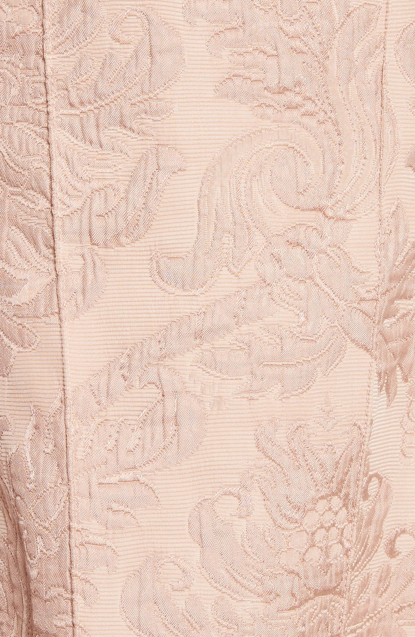 Baroque Jacquard Hourglass Dress,                             Alternate thumbnail 5, color,                             Chalk Pink