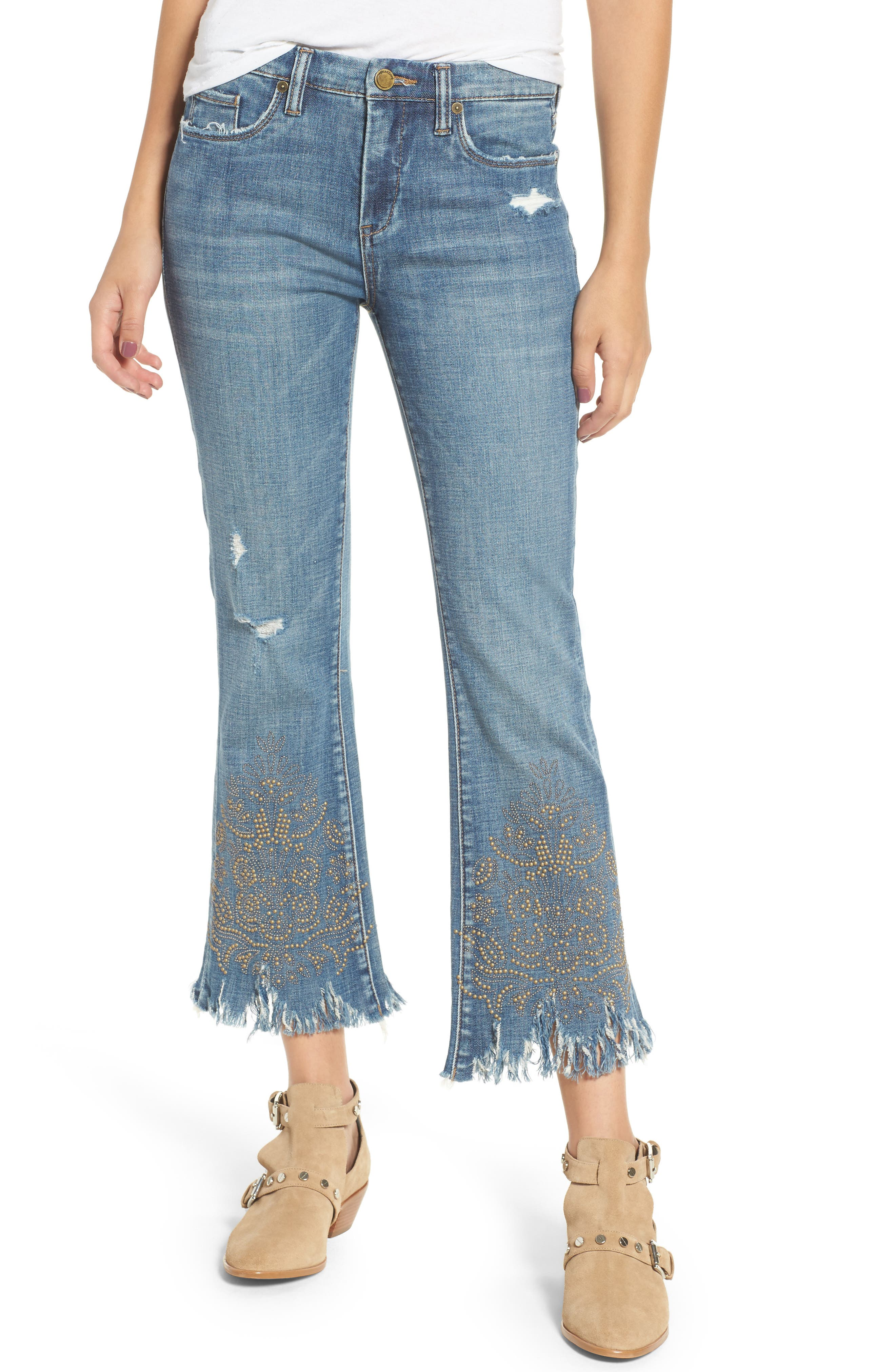 Studded Crop Flare Jeans,                             Main thumbnail 1, color,                             Miss Matched Blue