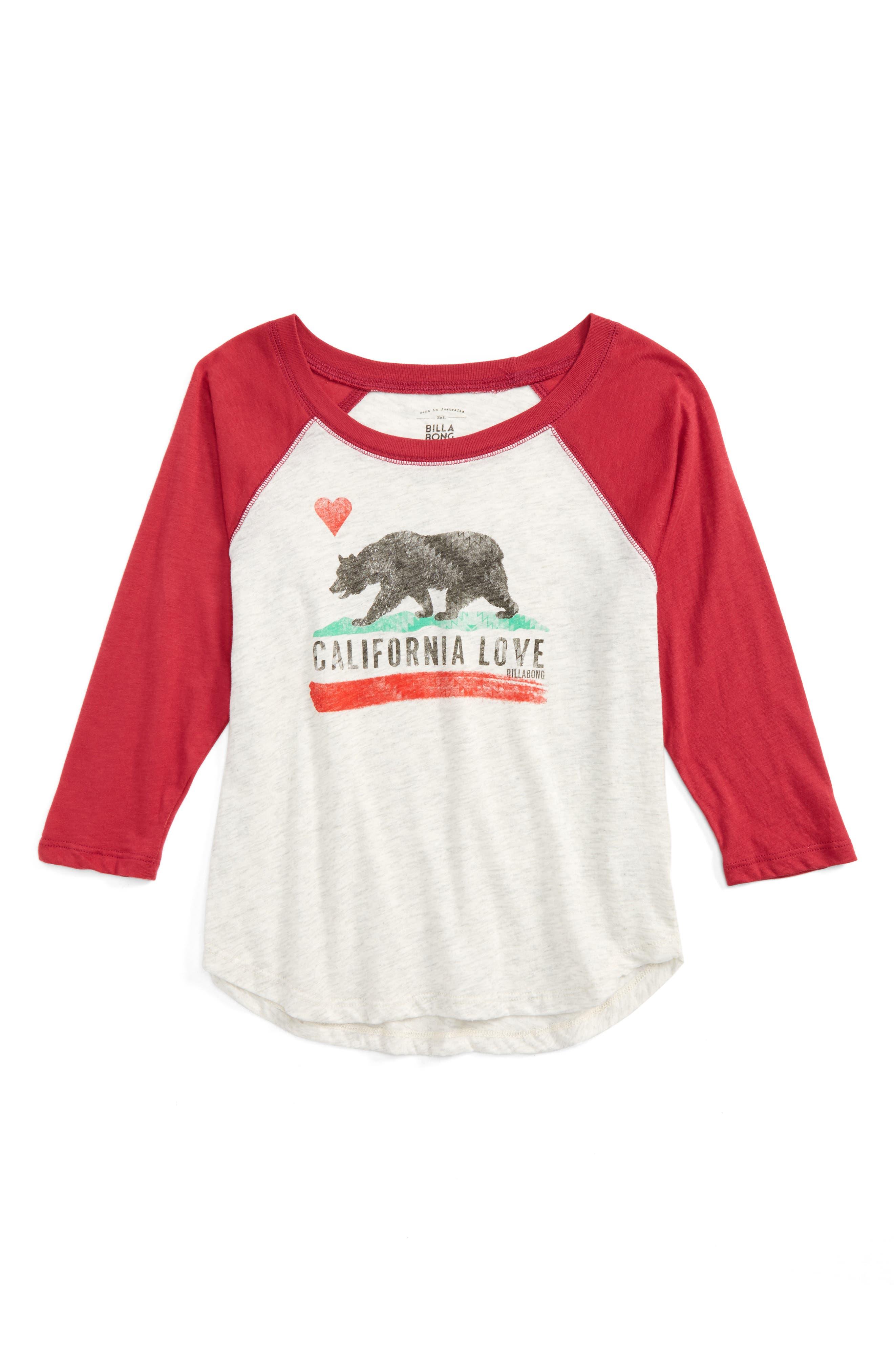 Main Image - Billabong Cali Bear Original Graphic Tee (Little Girls & Big Girls)