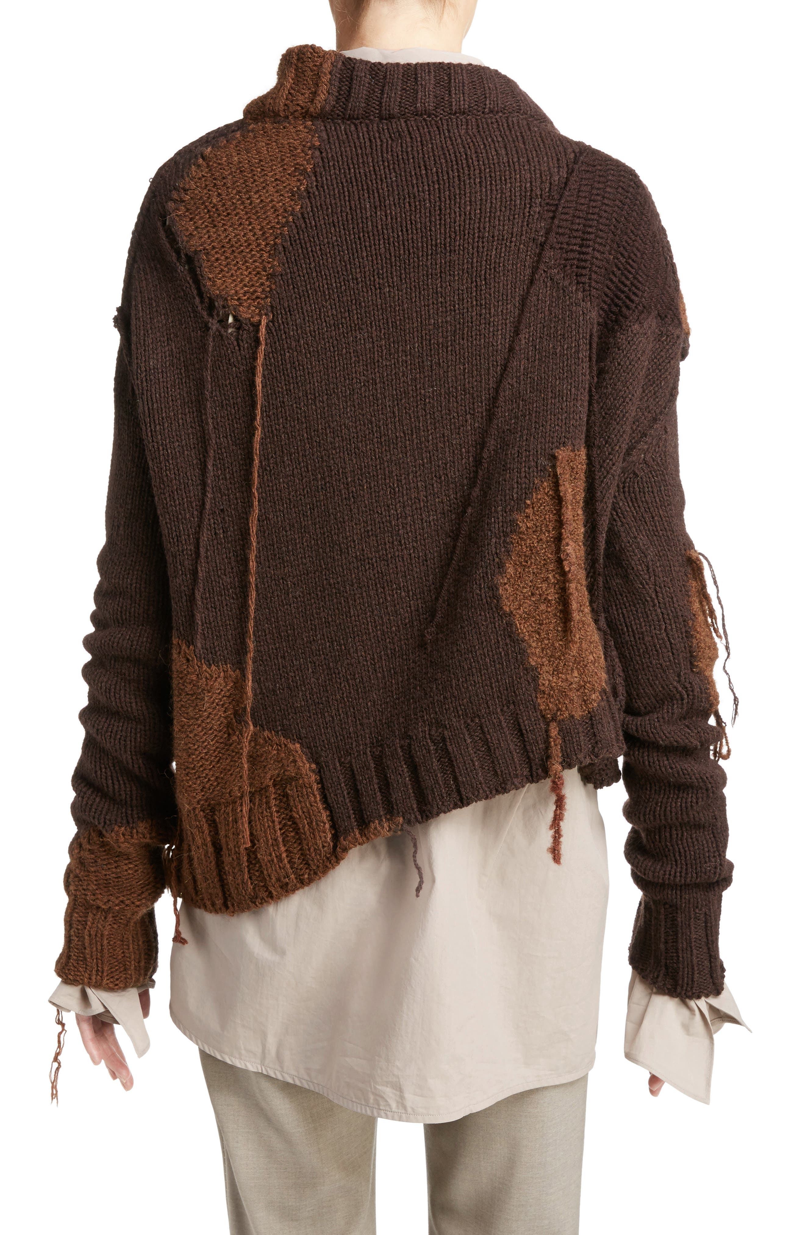 Ovira Distressed Patchwork Sweater,                             Alternate thumbnail 2, color,                             Brown Combo