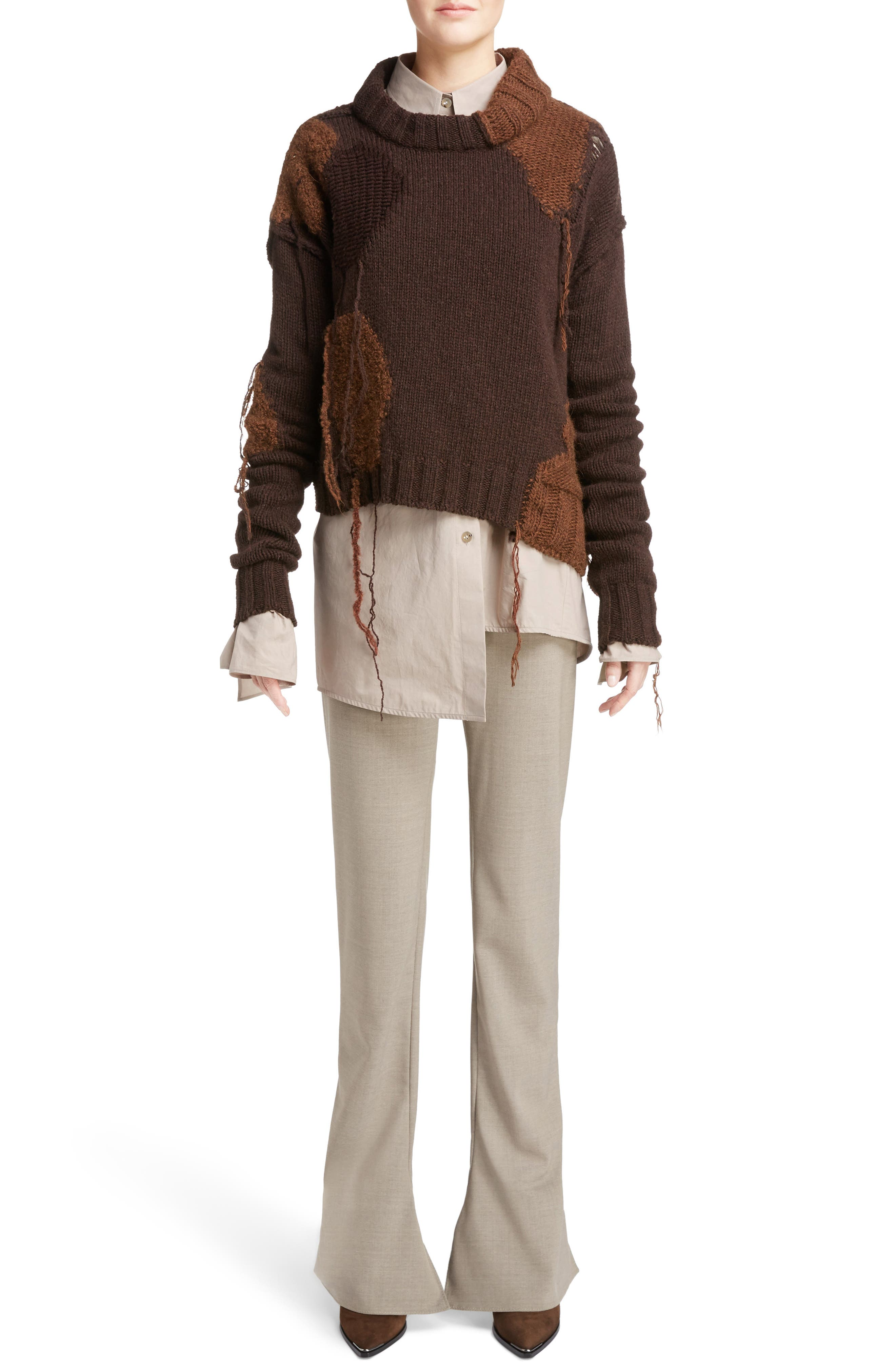 Ovira Distressed Patchwork Sweater,                             Alternate thumbnail 6, color,                             Brown Combo