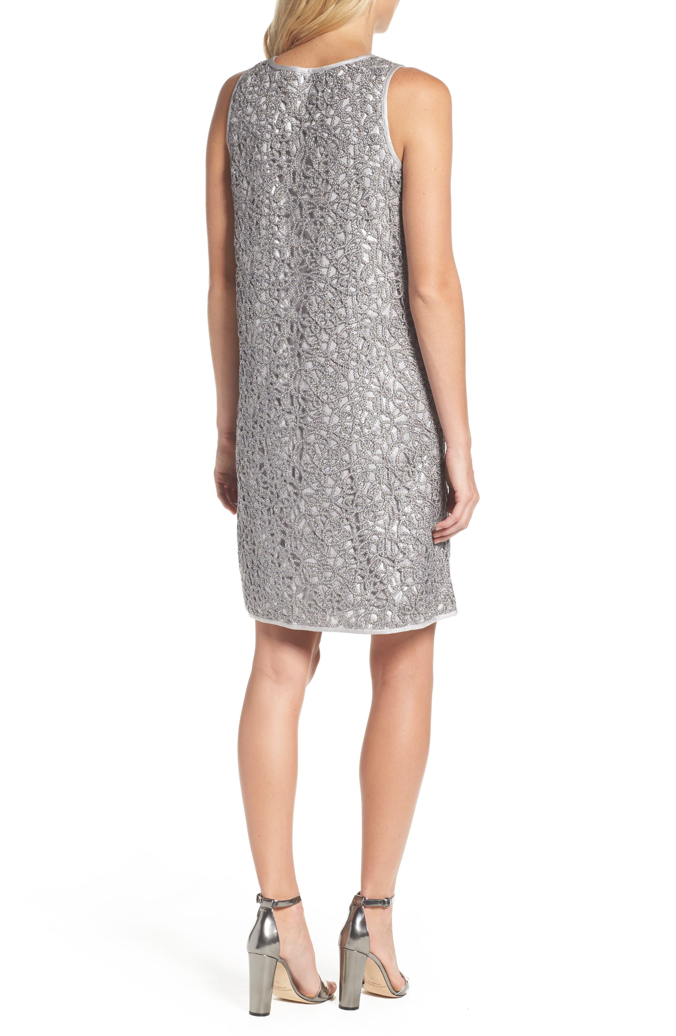 Metallic Lace Shift Dress,                             Alternate thumbnail 2, color,                             Silver
