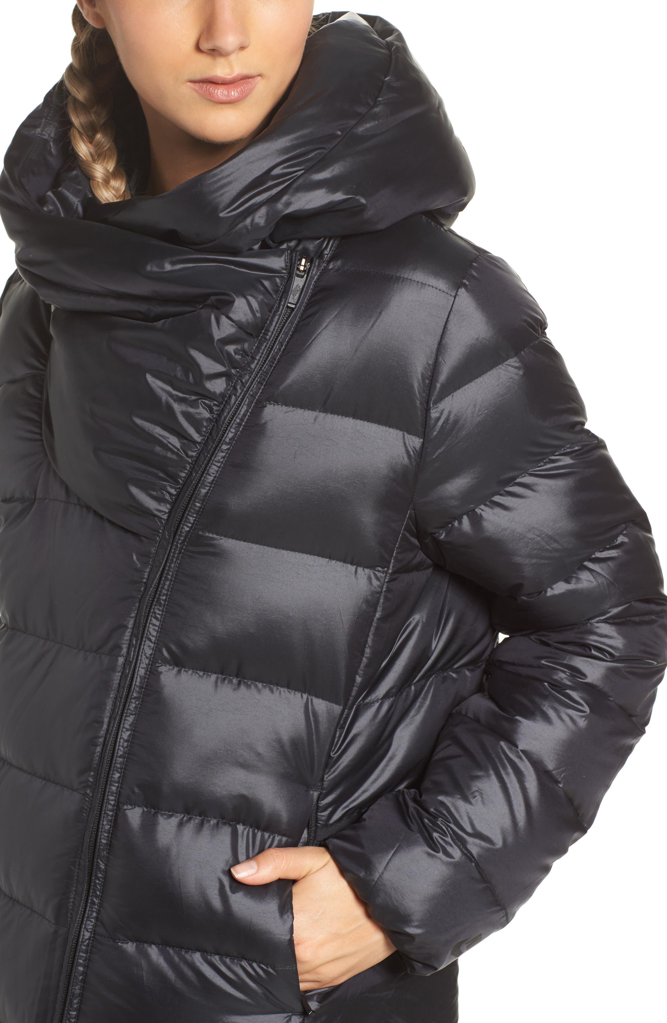 Sportswear Women's Down Parka,                             Alternate thumbnail 4, color,                             Black/ Black/ Black