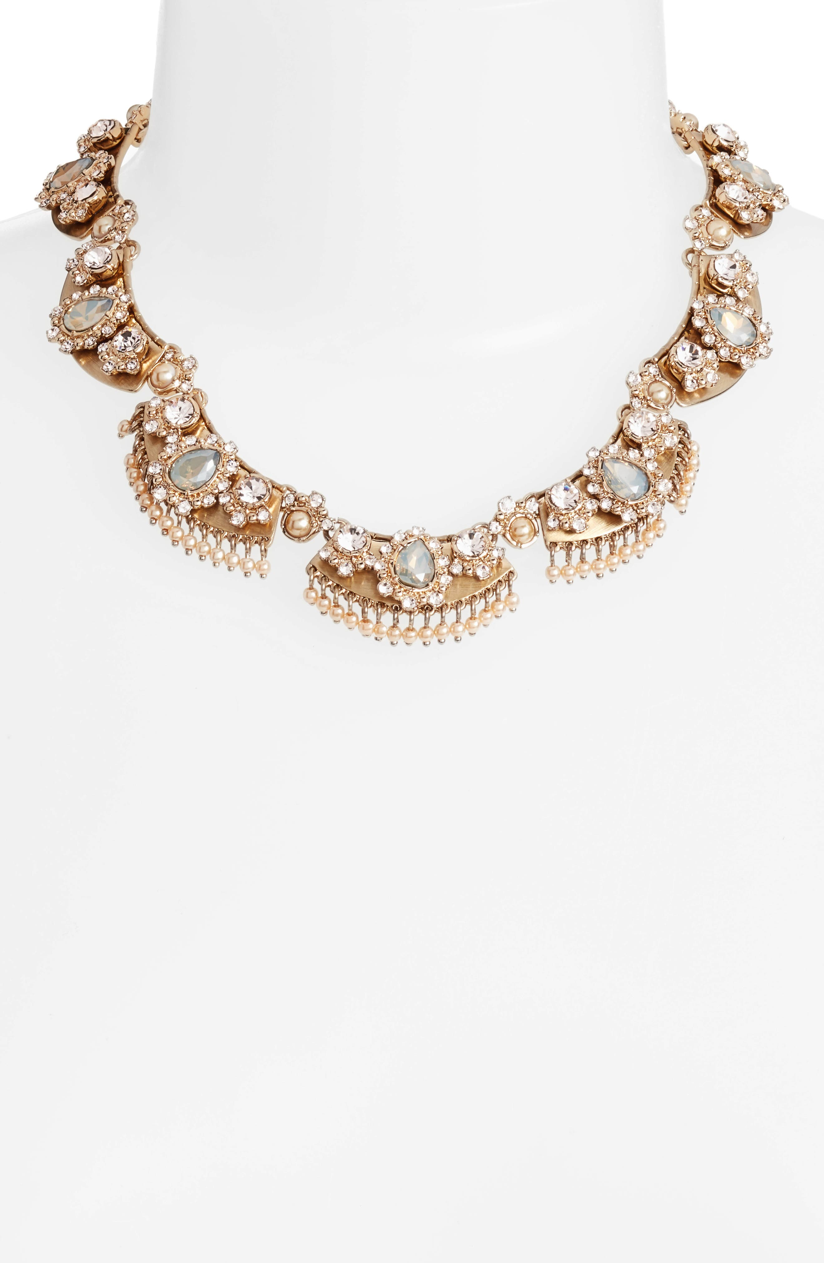 Crystal Collar Necklace,                             Alternate thumbnail 2, color,                             Gold/ Grey Multi