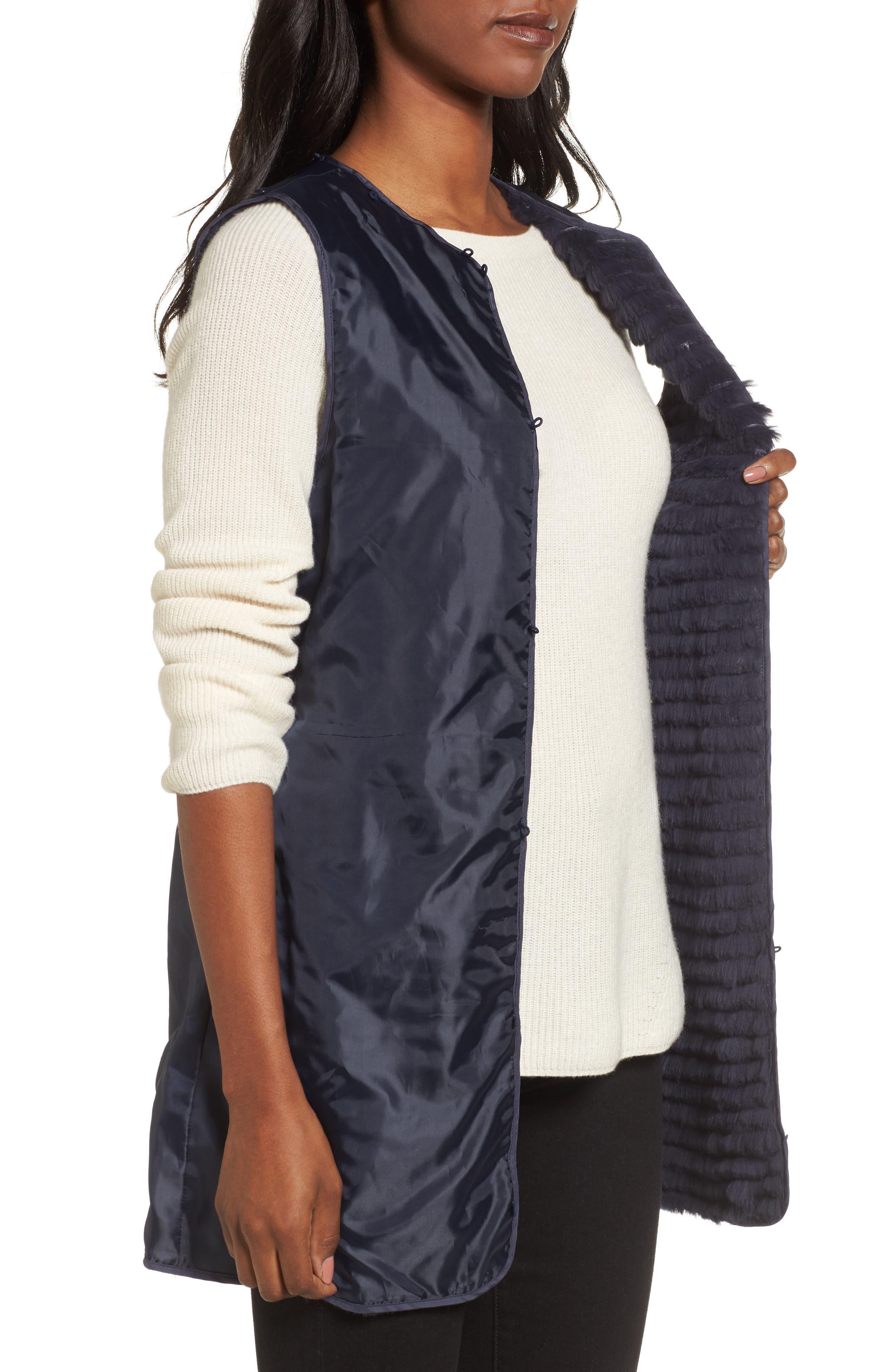Alternate Image 4  - George Simonton Couture Packable Silk Coat with Genuine Fox Fur & Genuine Rabbit Fur