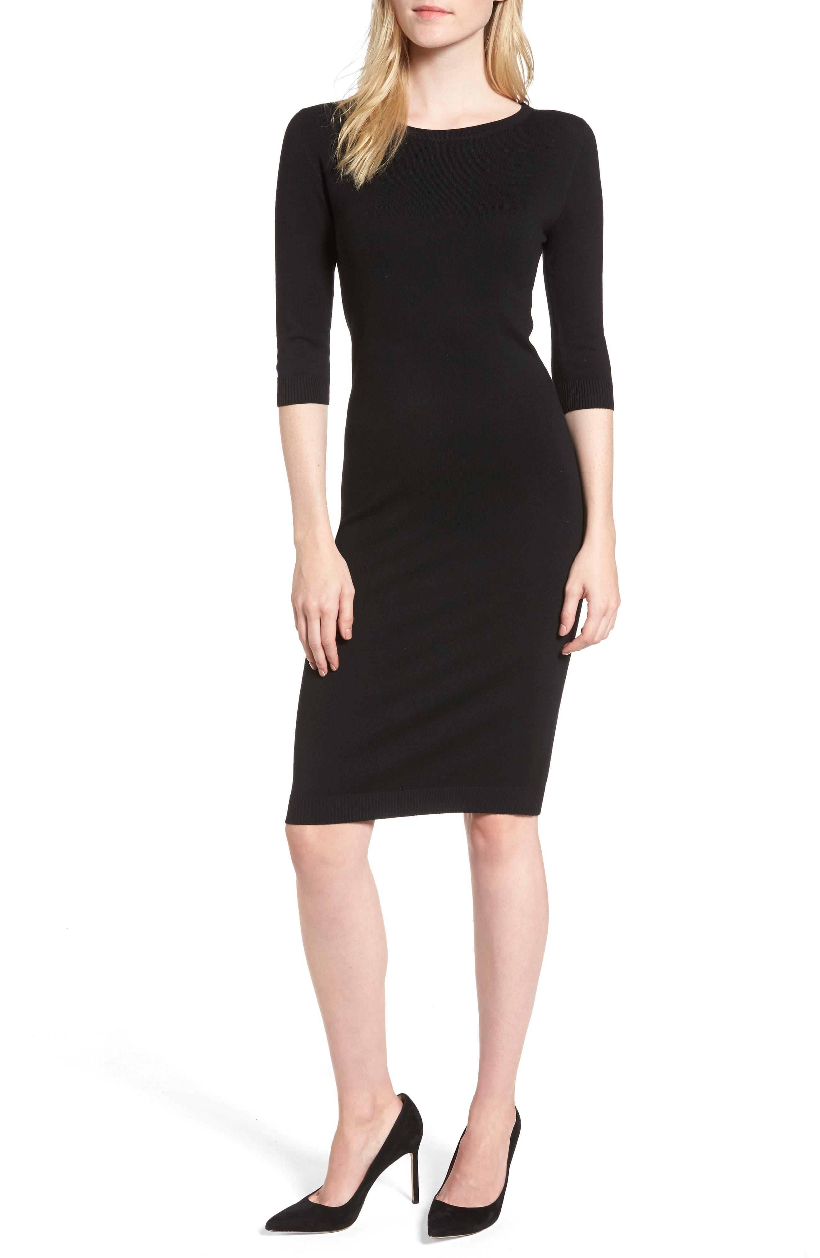 Elbow Sleeve Sweater Dress,                         Main,                         color, Black