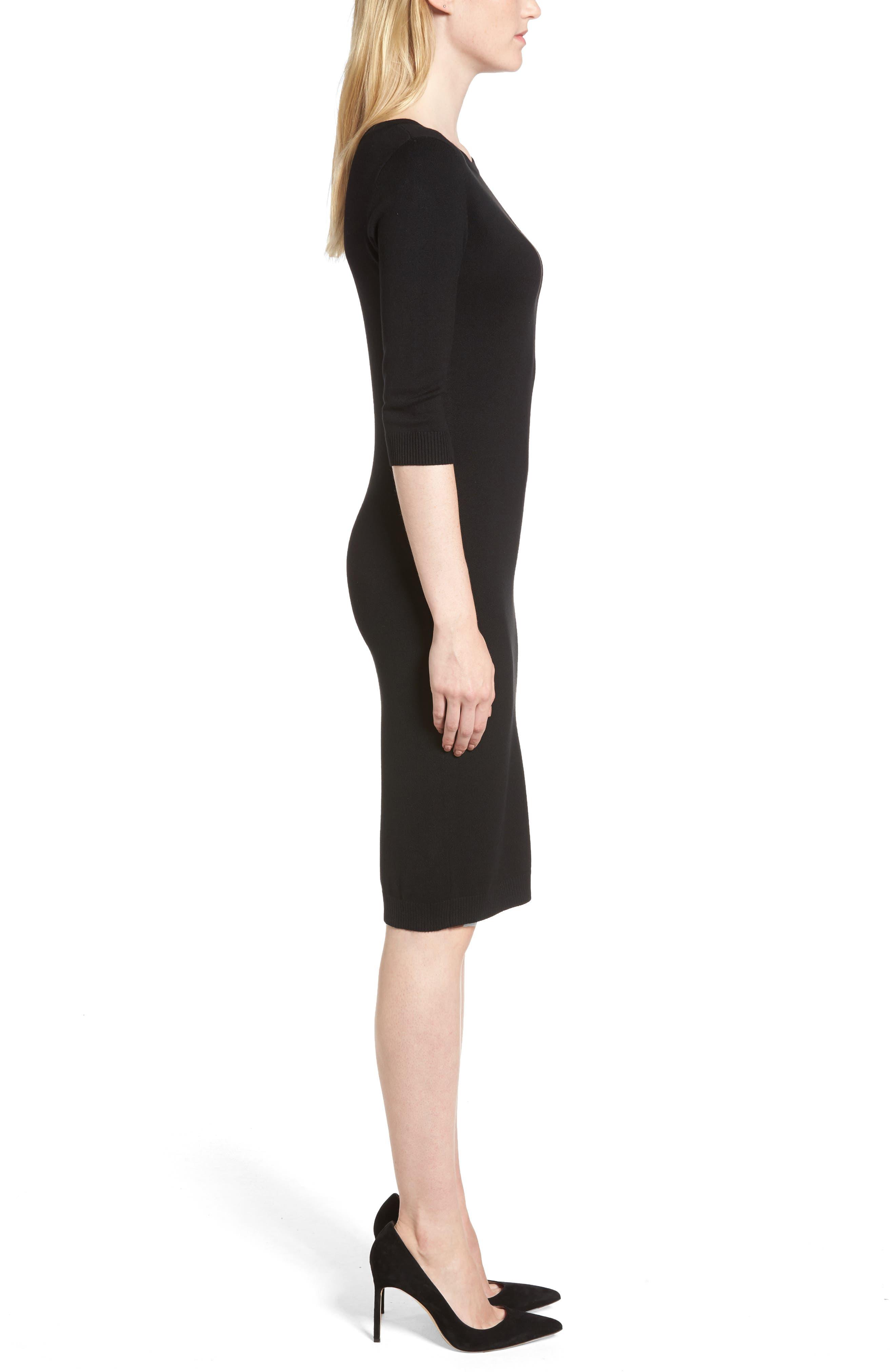 Elbow Sleeve Sweater Dress,                             Alternate thumbnail 3, color,                             Black