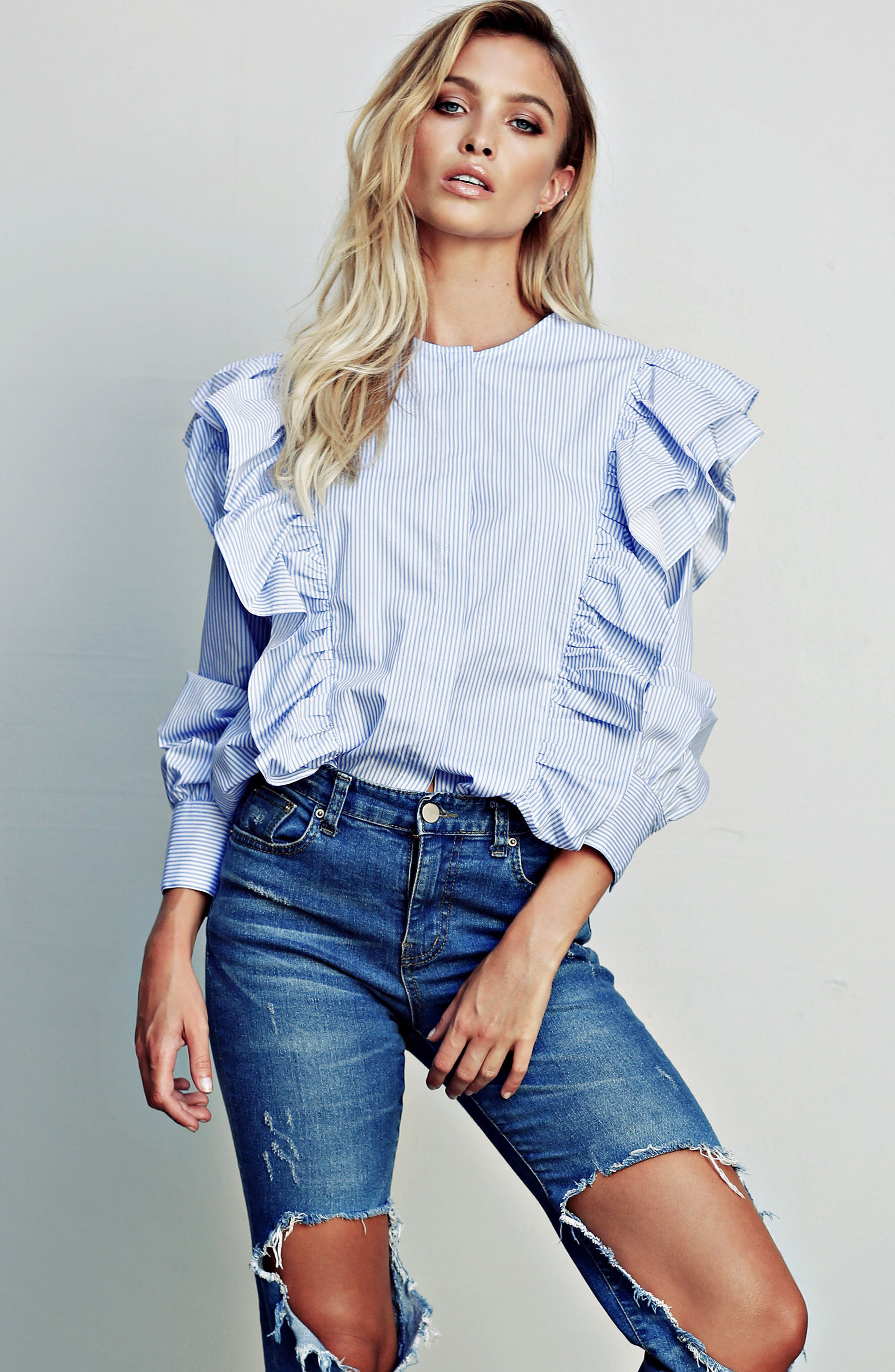 Girl Meets Boy Ruffle Top,                             Alternate thumbnail 2, color,                             Striped Blue