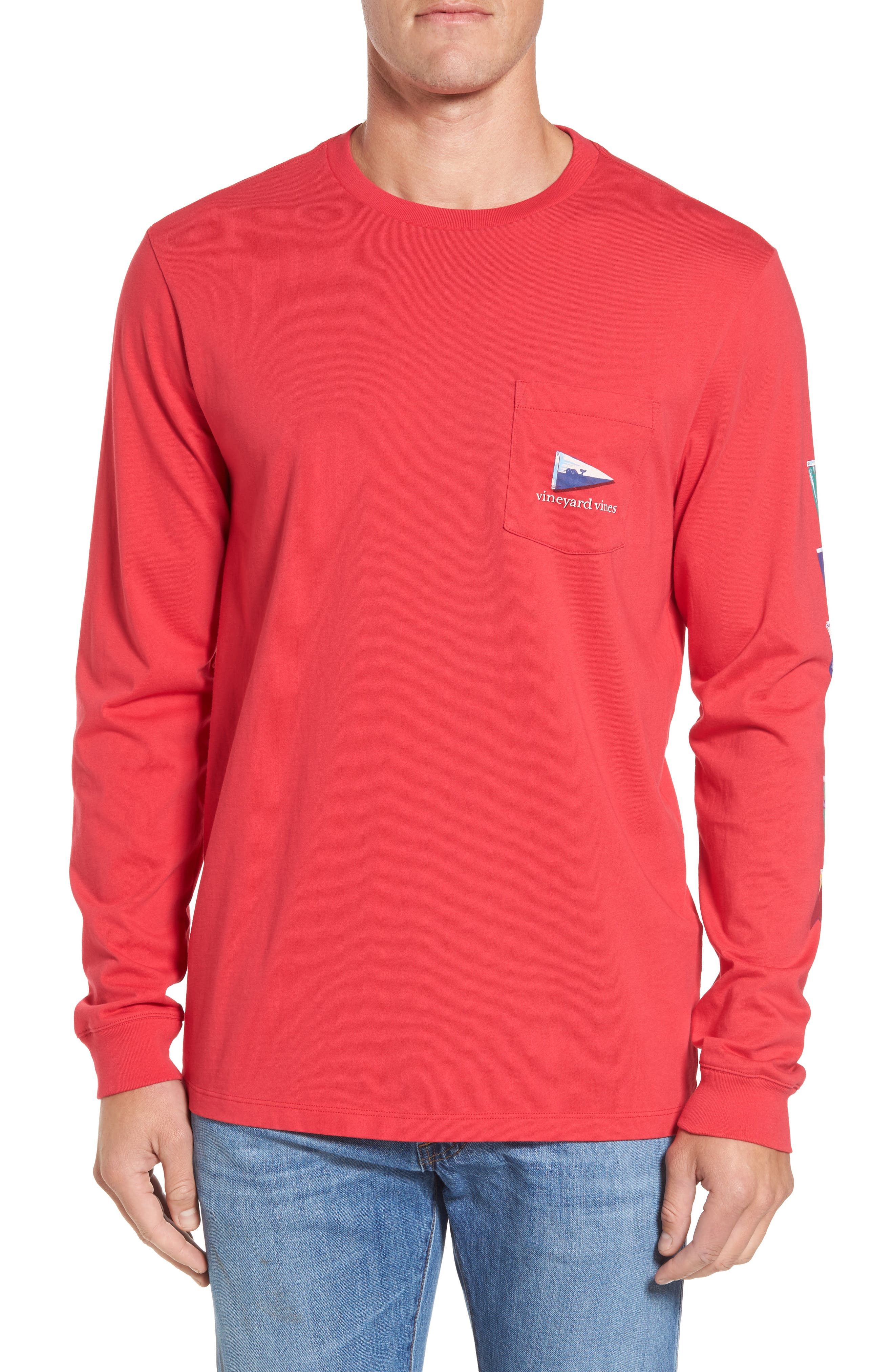 Coastal Burgees Long Sleeve Pocket T-Shirt,                             Alternate thumbnail 2, color,                             Barberry
