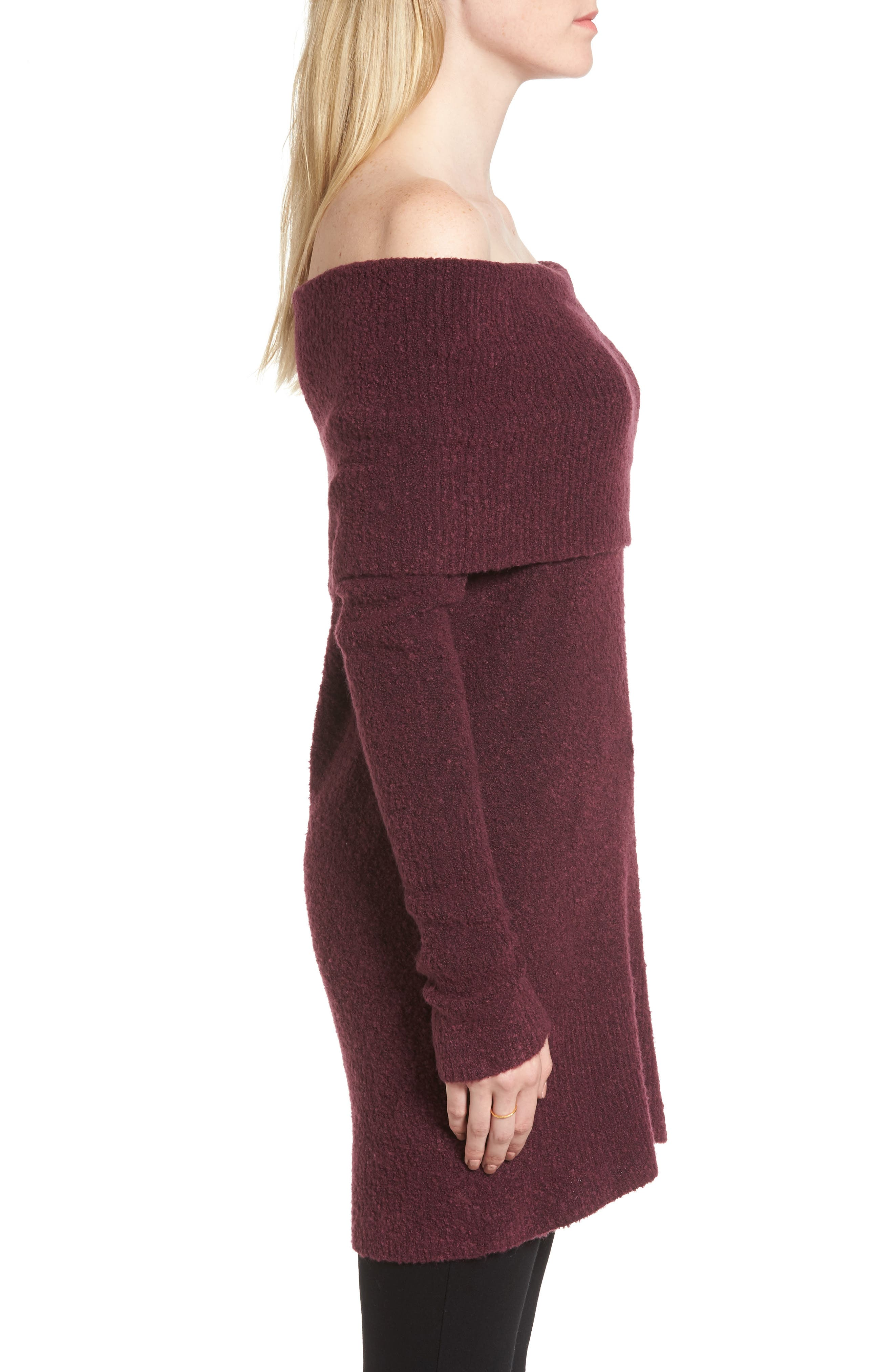 Off the Shoulder Tunic,                             Alternate thumbnail 3, color,                             Burgundy Fig