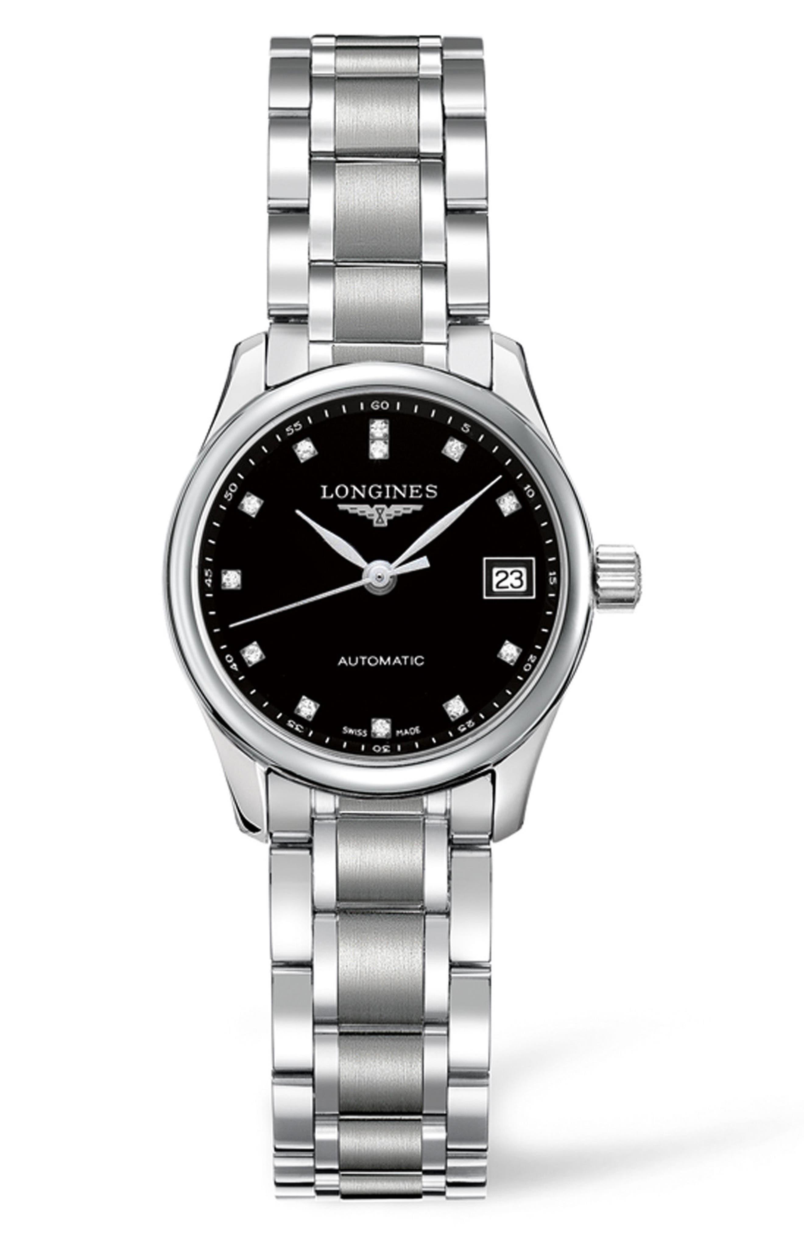 LONGINES Master Automatic Diamond Bracelet Watch, 25.5mm