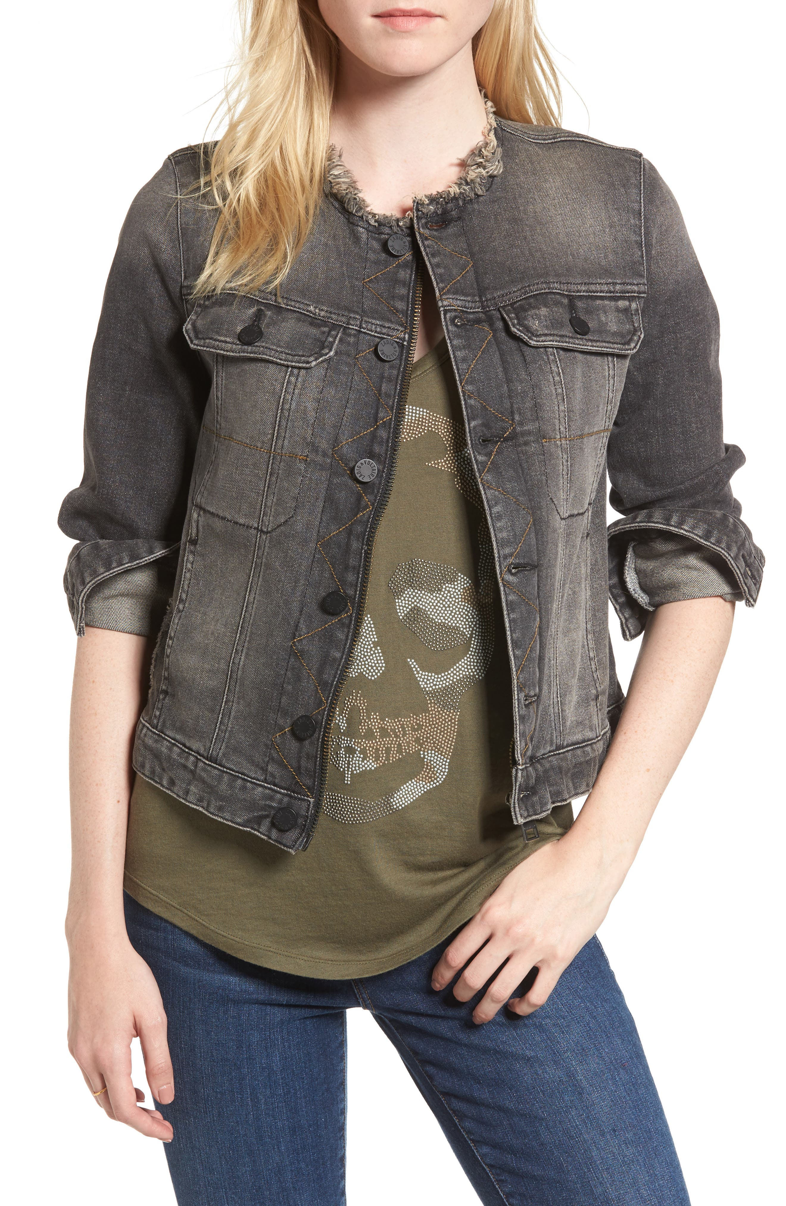 Love Now Crop Denim Jacket,                             Main thumbnail 1, color,                             Gris