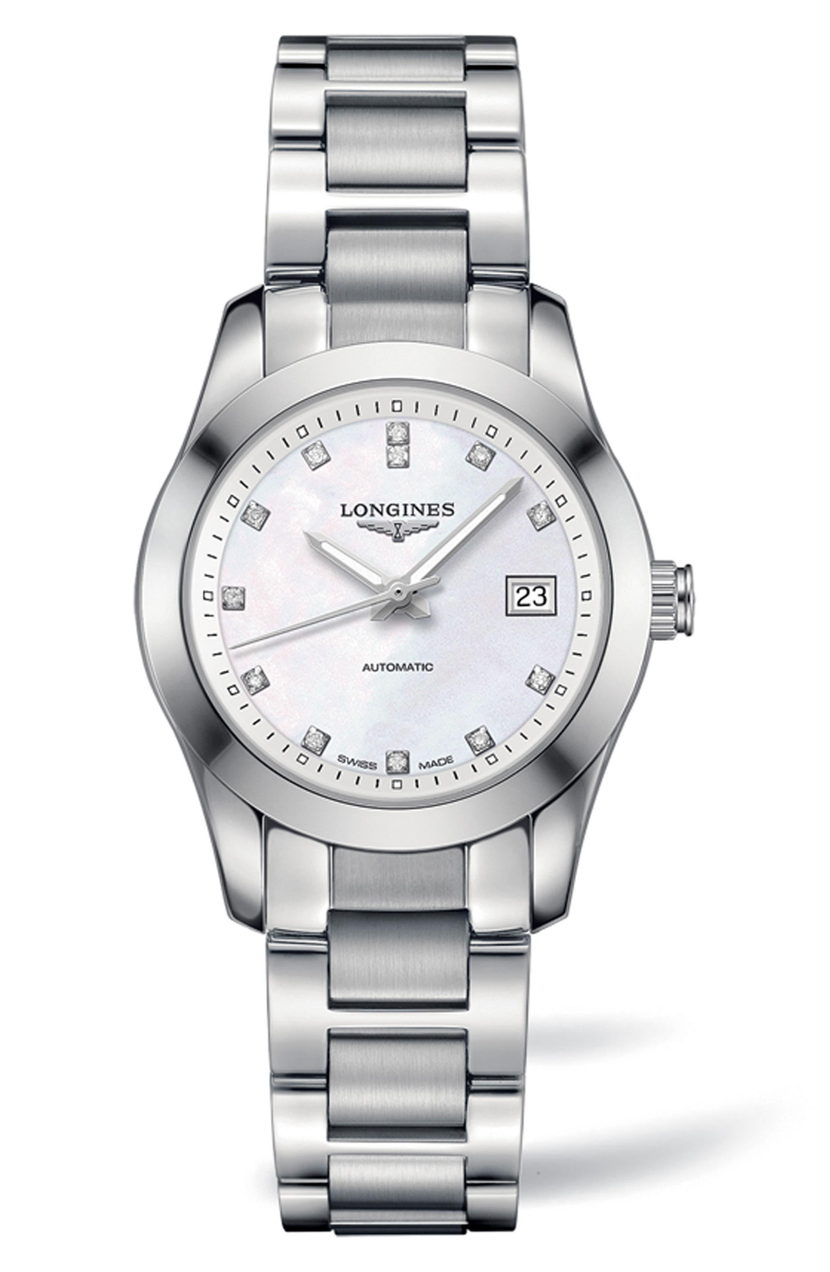 Conquest Classic Automatic Bracelet Watch, 29.5mm,                         Main,                         color, Silver/ Mop/ Silver