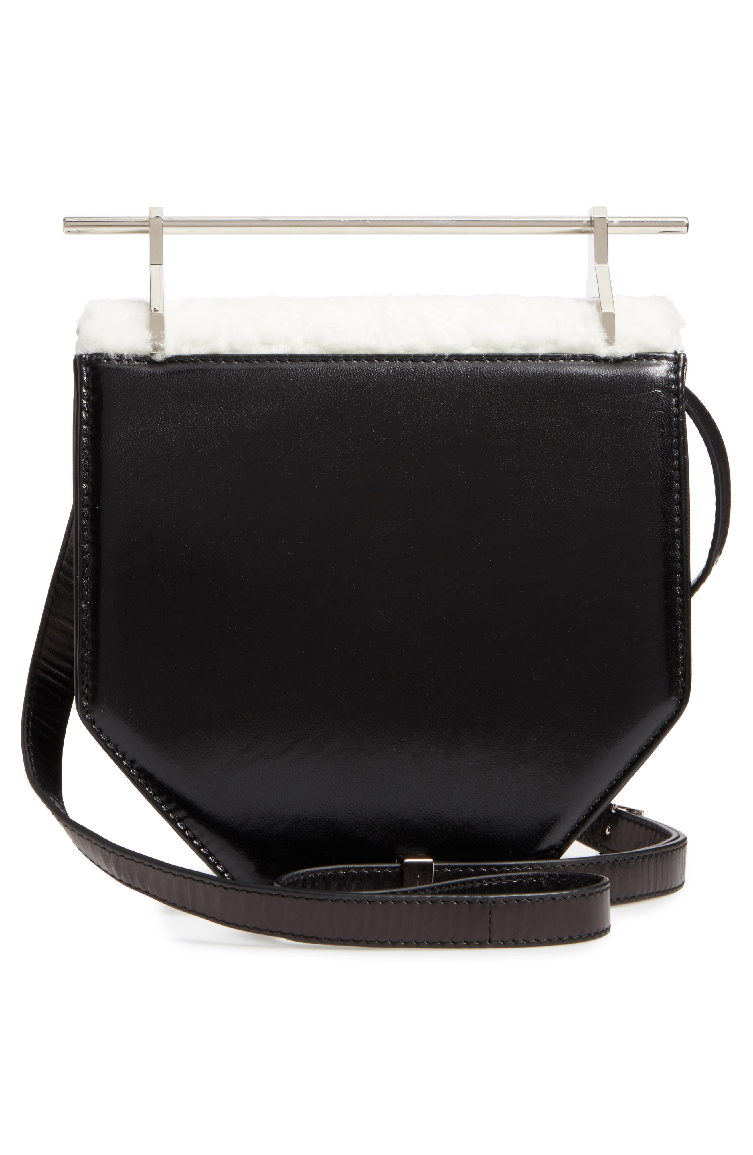 Amor Fati Leather & Genuine Shearling Shoulder Bag,                             Alternate thumbnail 2, color,                             Black/ White/ Silver