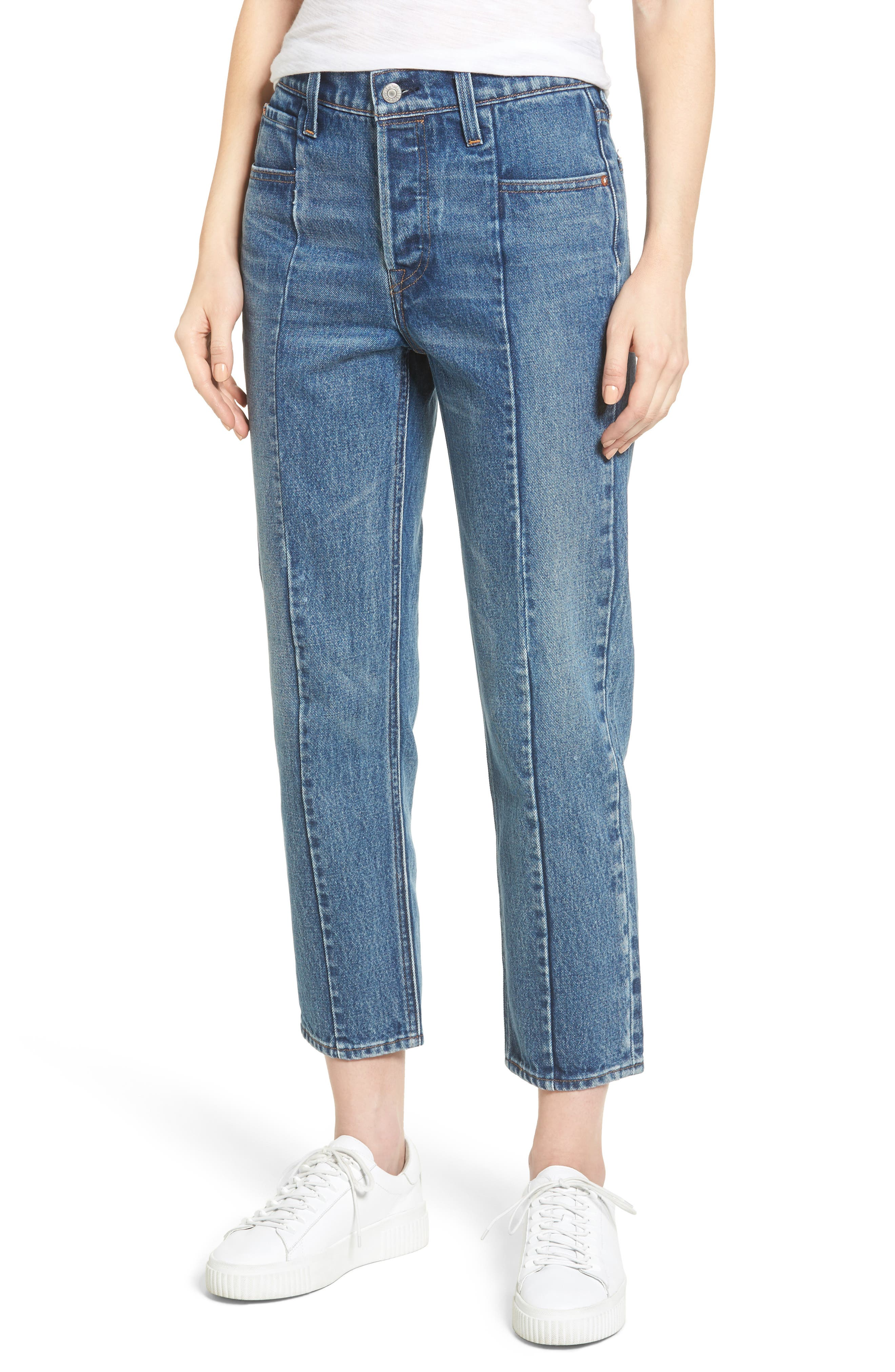 Wedgie Altered Straight Leg Crop Jeans,                             Main thumbnail 1, color,                             No Limits