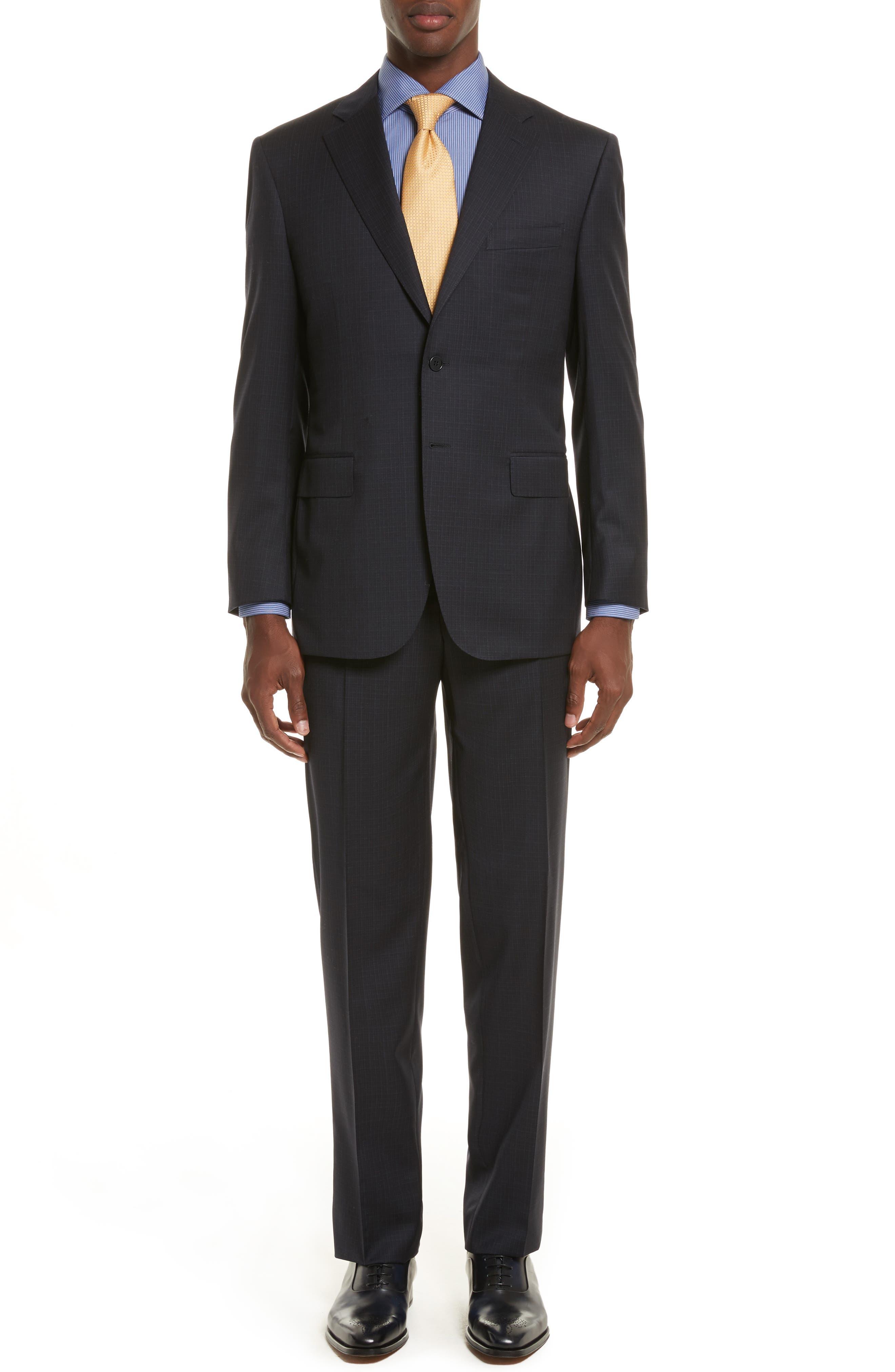 Classic Fit Check Wool Suit,                         Main,                         color, Blue